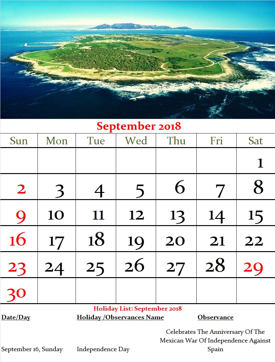 Mexico Monthly Calendar September 2018   Year Pertaining To Mexican Calendar With Names