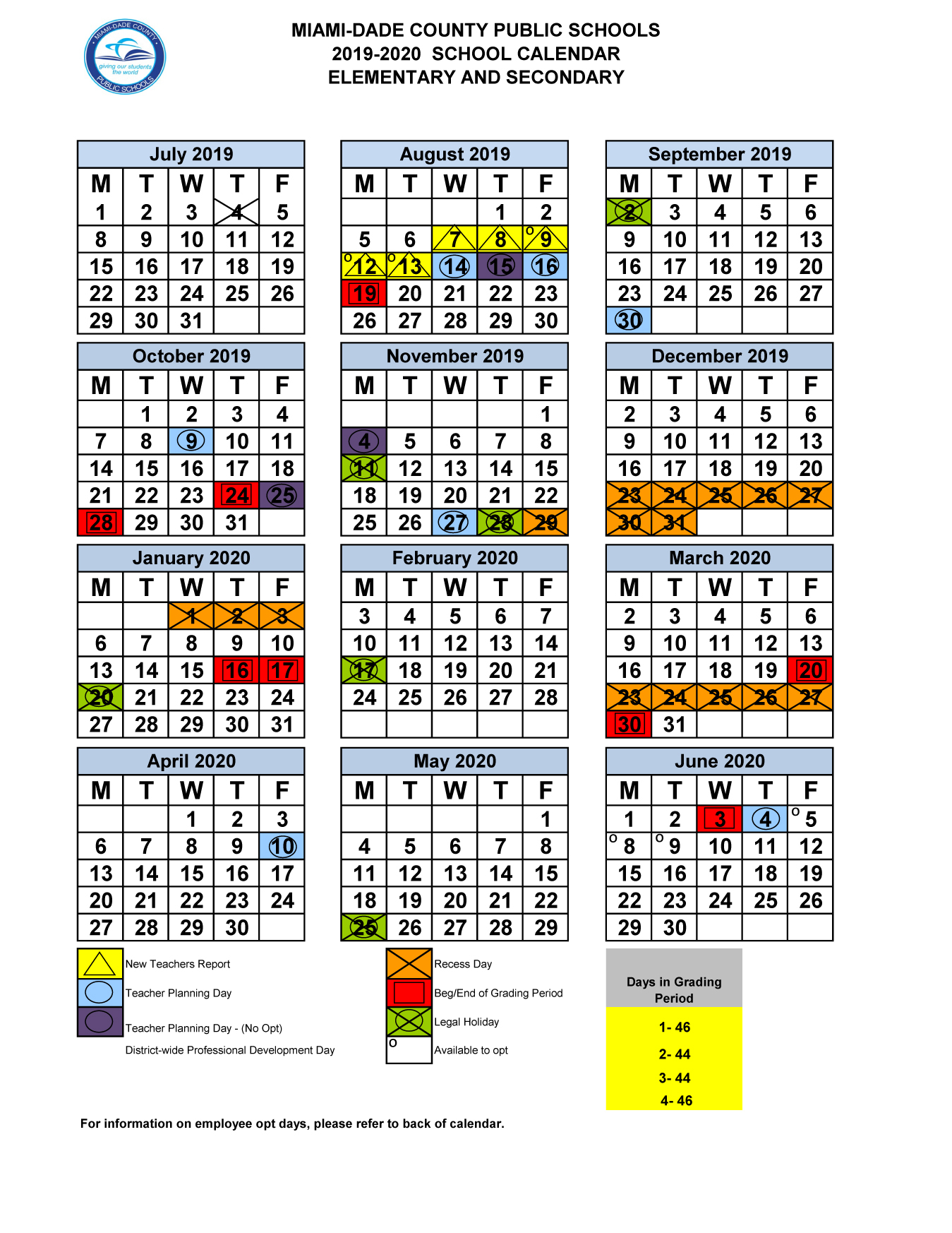 Miami-Dade County 2019-2020 School Calendar Elementary And regarding First Day Of Class Miami Dade College Fall 2020
