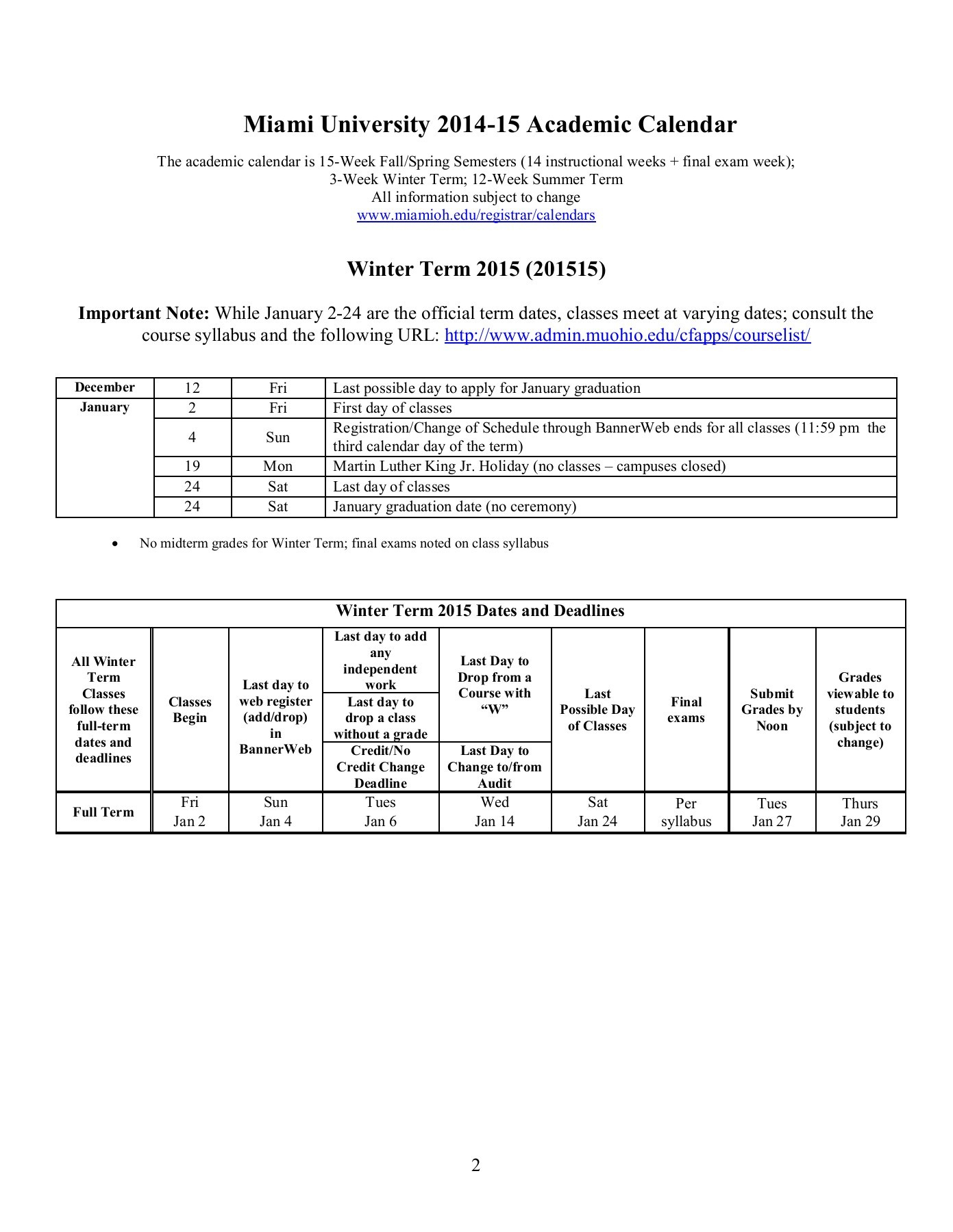Miami University 2014 15 Academic Calendar Intended For Miami Of Ohio Academic Calendar