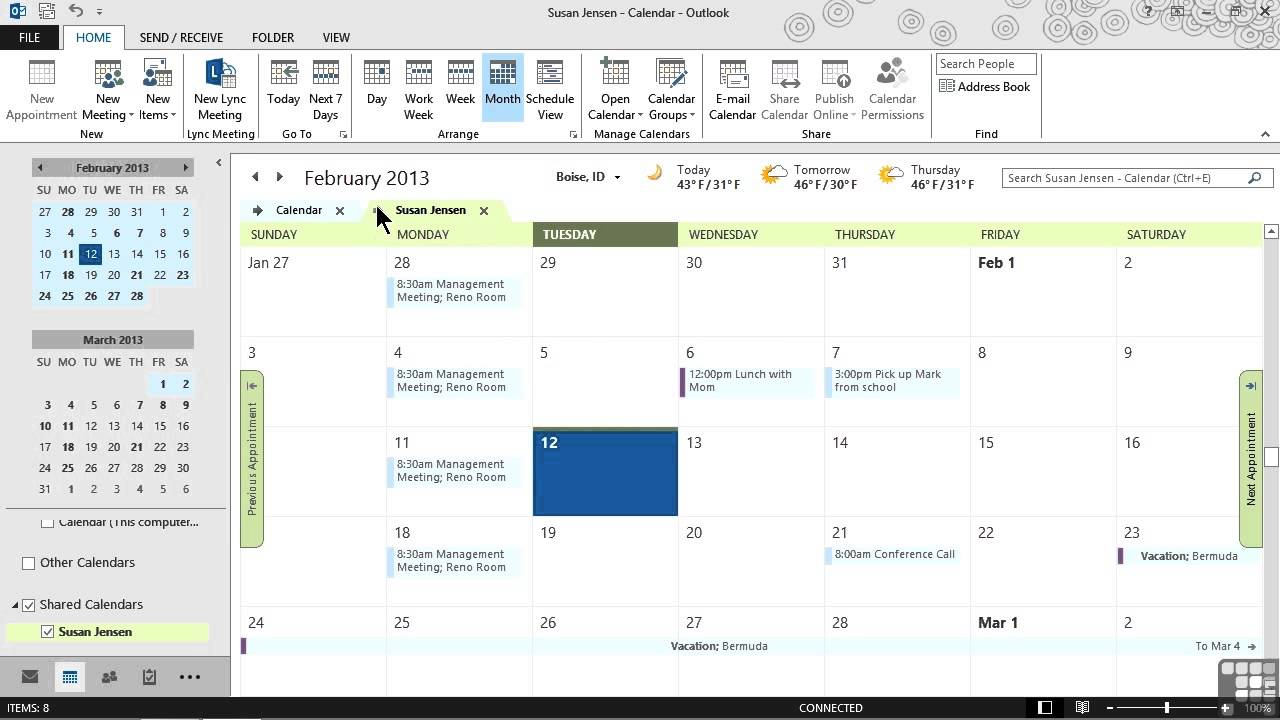 Microsoft Outlook 2013 Tutorial | Sharing Calendars And Outlook Items With Grant Access To Outlook Calendar
