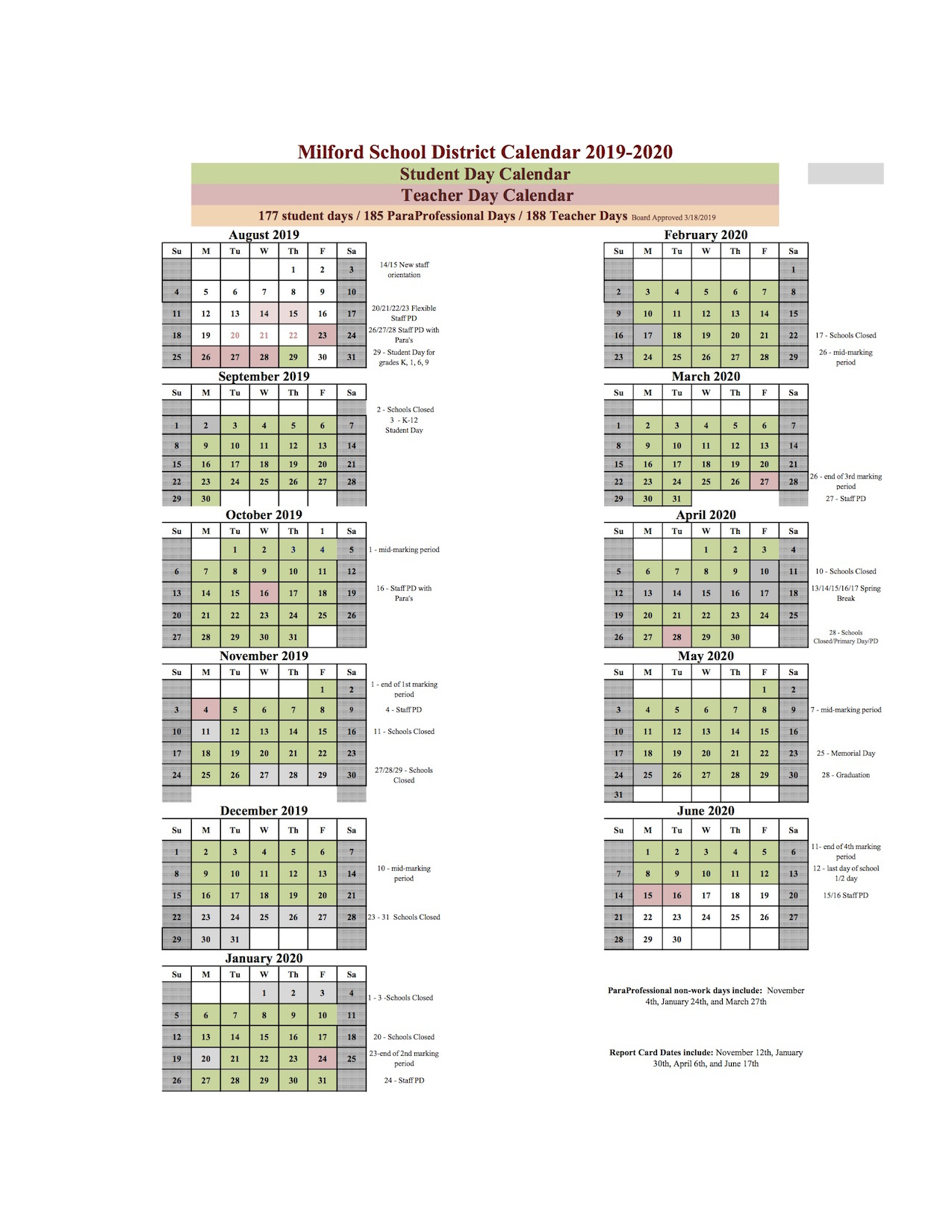 Milford School District Intended For Delaware State University Calendar 2021