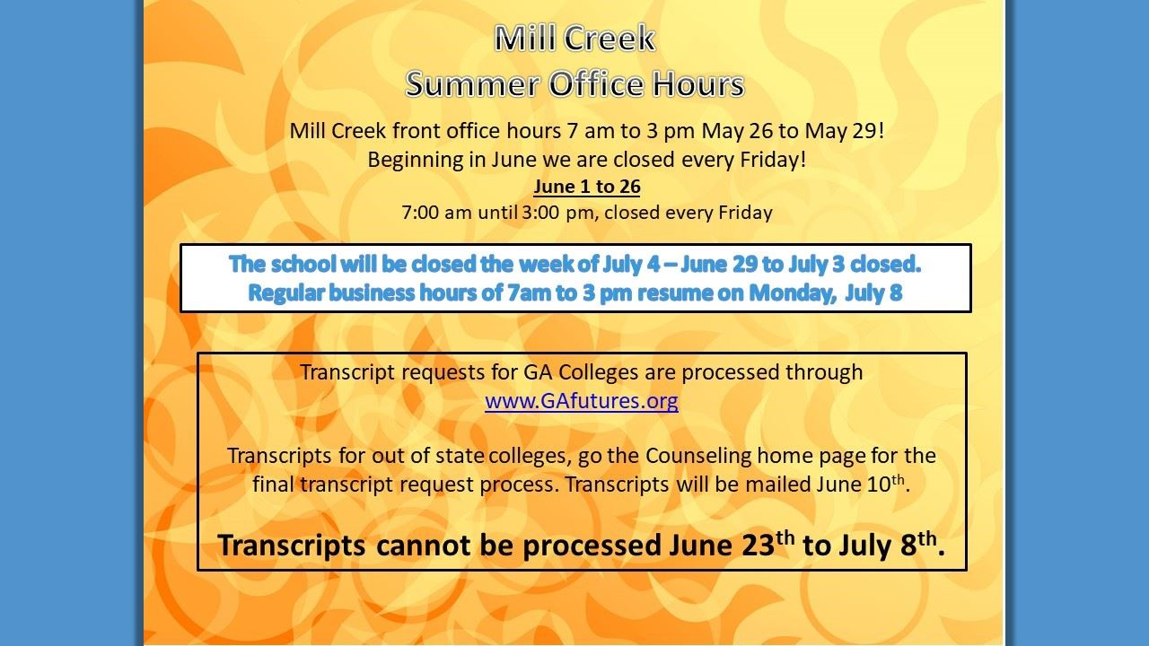 Mill Creek Hs / Homepage Throughout Georgia State Summer School Schedule