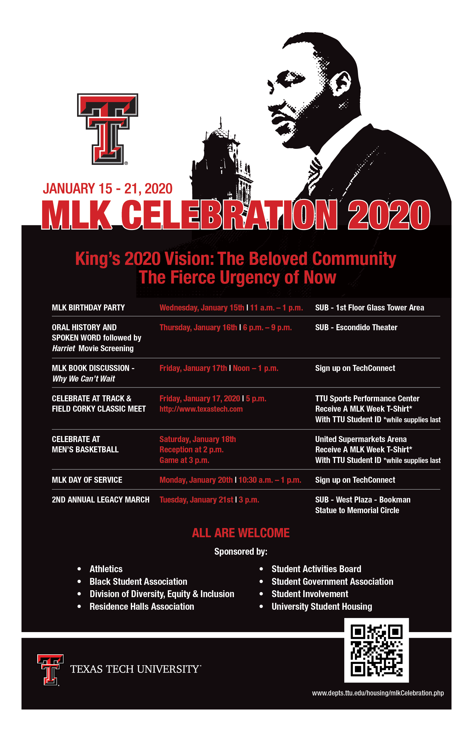 Mlk Celebration 2020 | Housing | Ttu Intended For Texas Tech University Holiday Schedule 2021