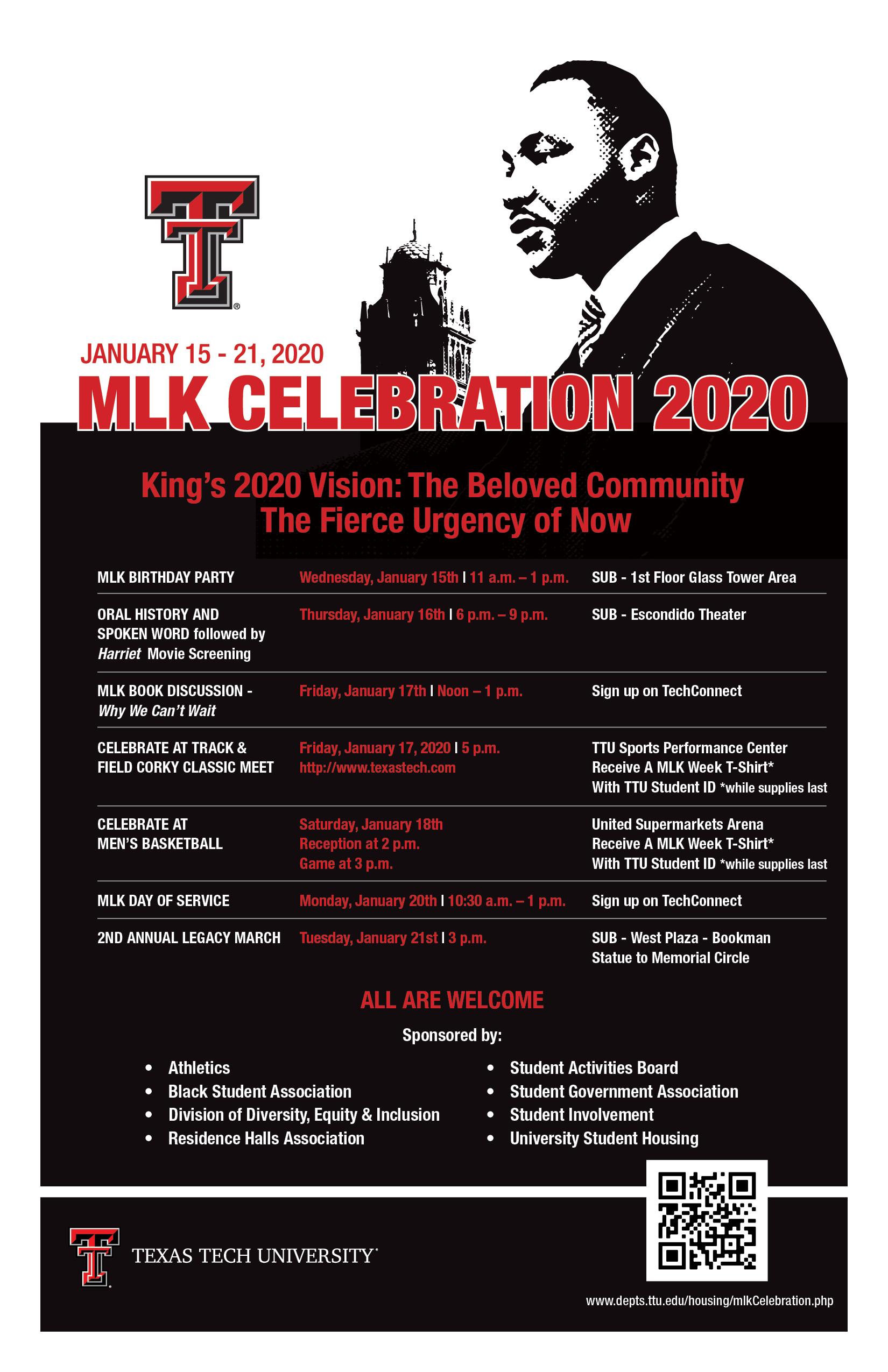 Mlk Celebration 2020 | Housing | Ttu Intended For Texas Tech University Holiday Schedule 2021