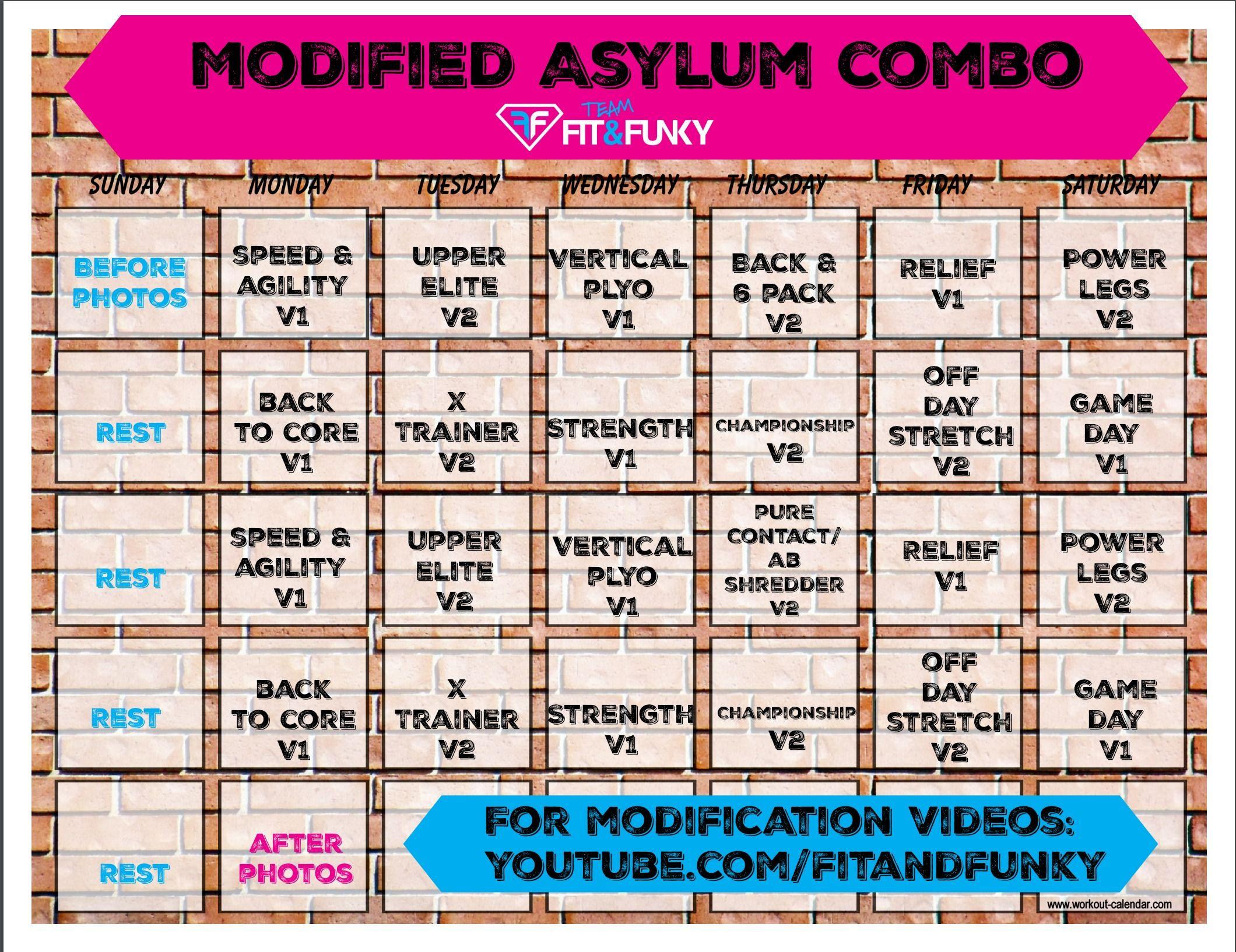 Modified Asylum Combo Workout Calendar | Workout Calendar Regarding Slim And 6 Workout Plan Calender Edit