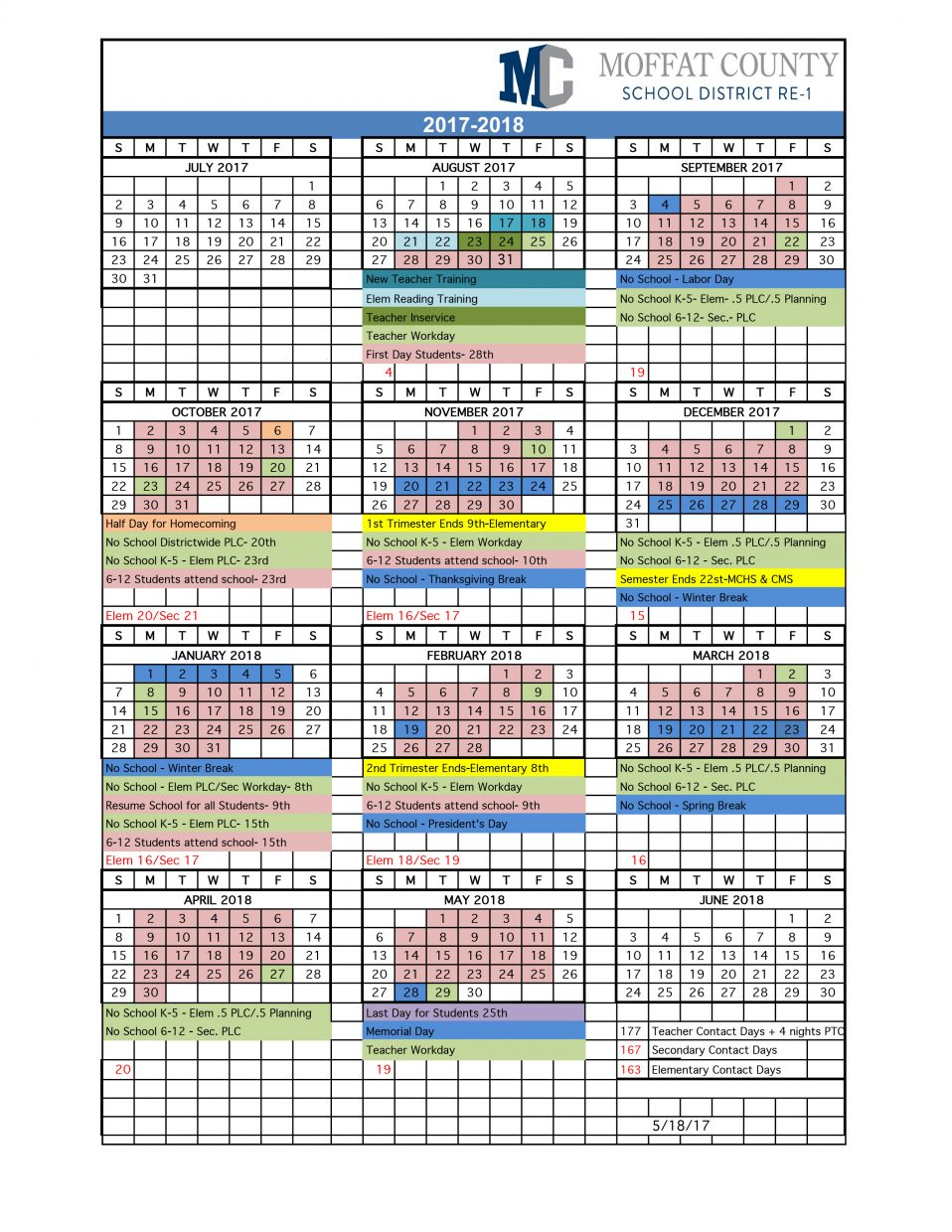 Moffat County School District Releases 2017 18 Academic With Regard To Elk River School District Calendar