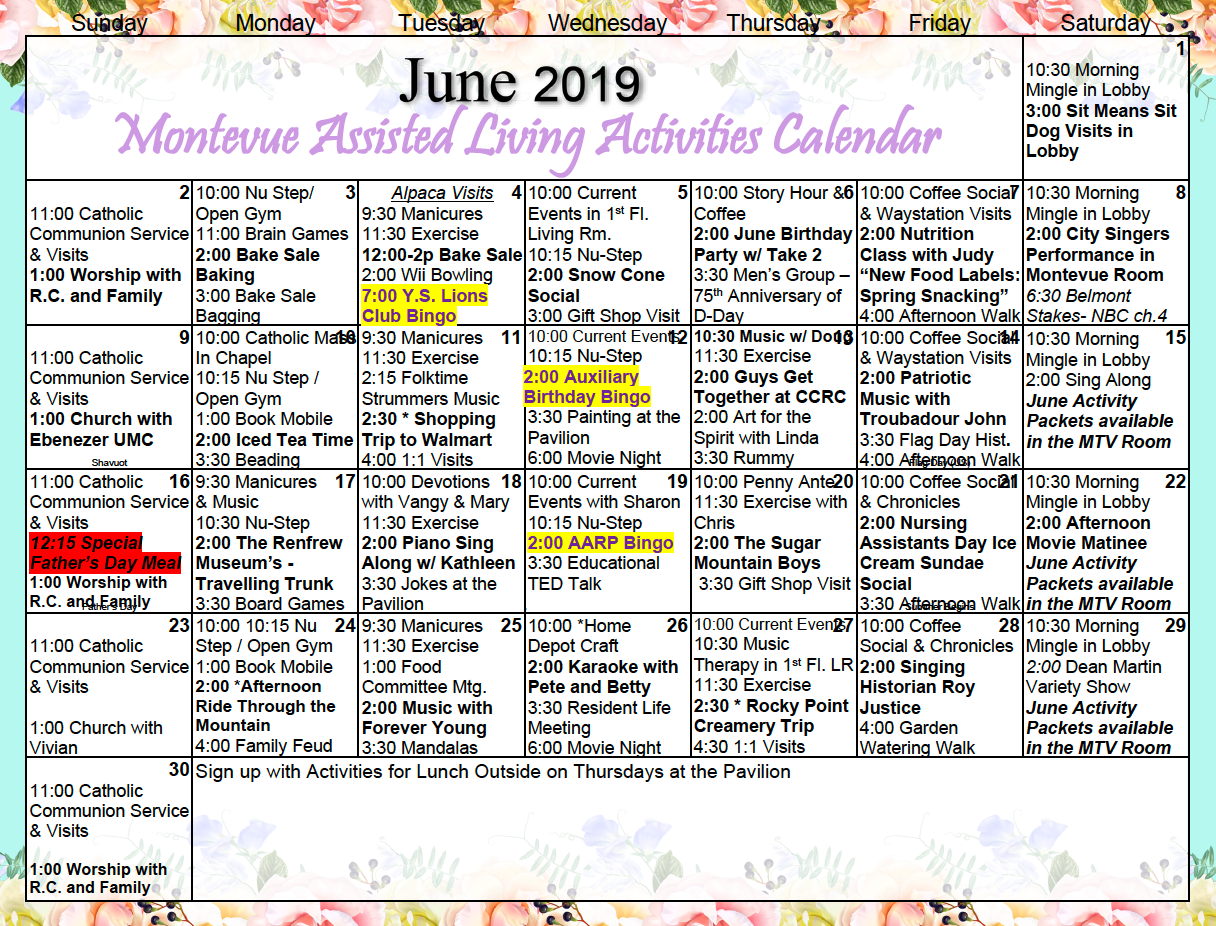Montevue Assisted Living June 2019 Activity Calendar Regarding Assisted Living Activity Calendar