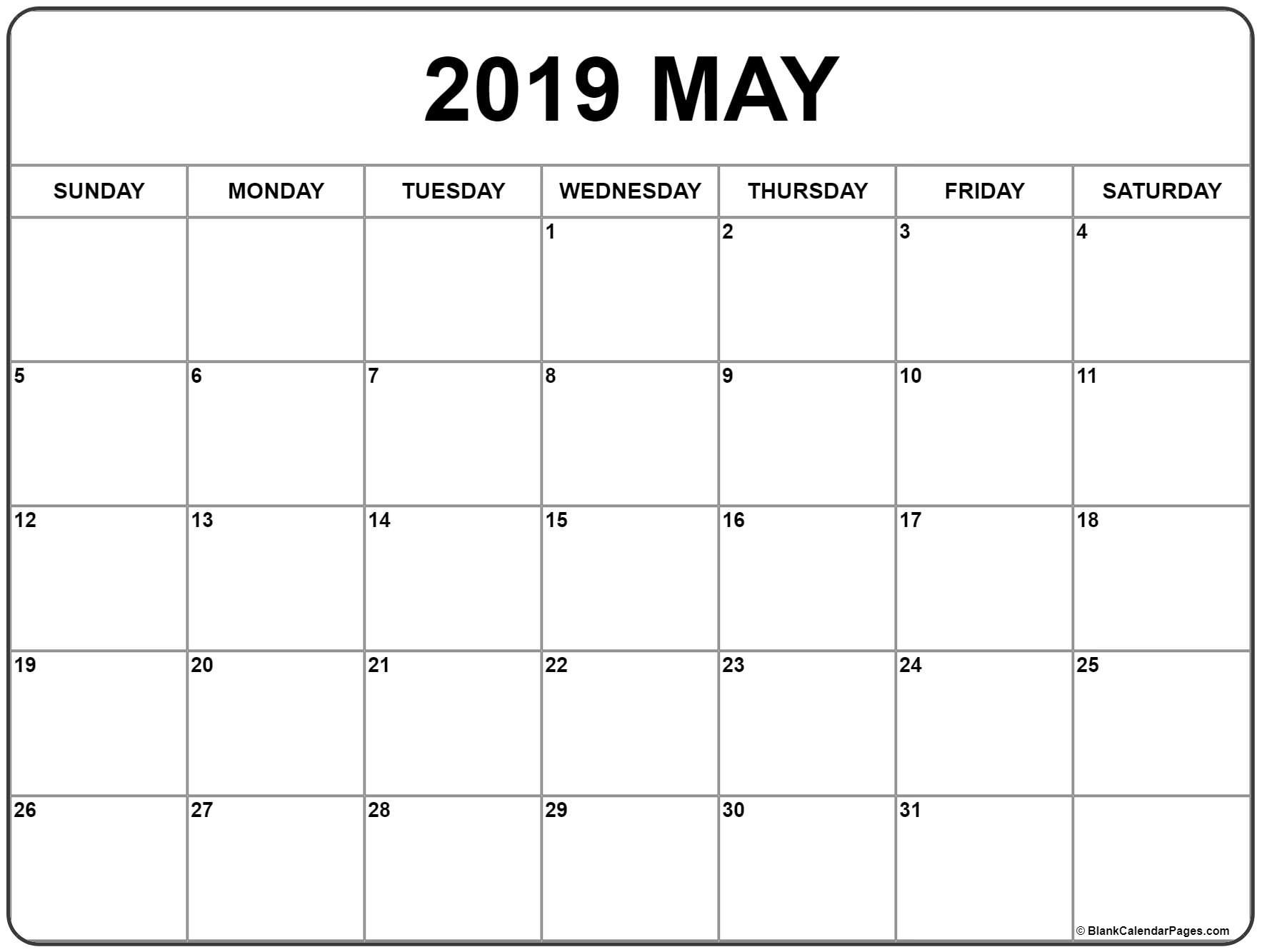 Monthly Blank Calendar May 2019 (With Images) | Monthly with regard to Printable 30 Day Squat Challenge January 2021