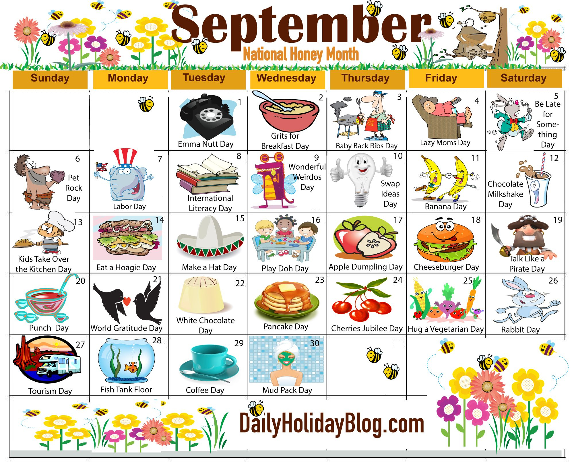 Monthly Holidays Calendars To Upload! | Holiday Calendar For Every Day Is A Holiday Calendar