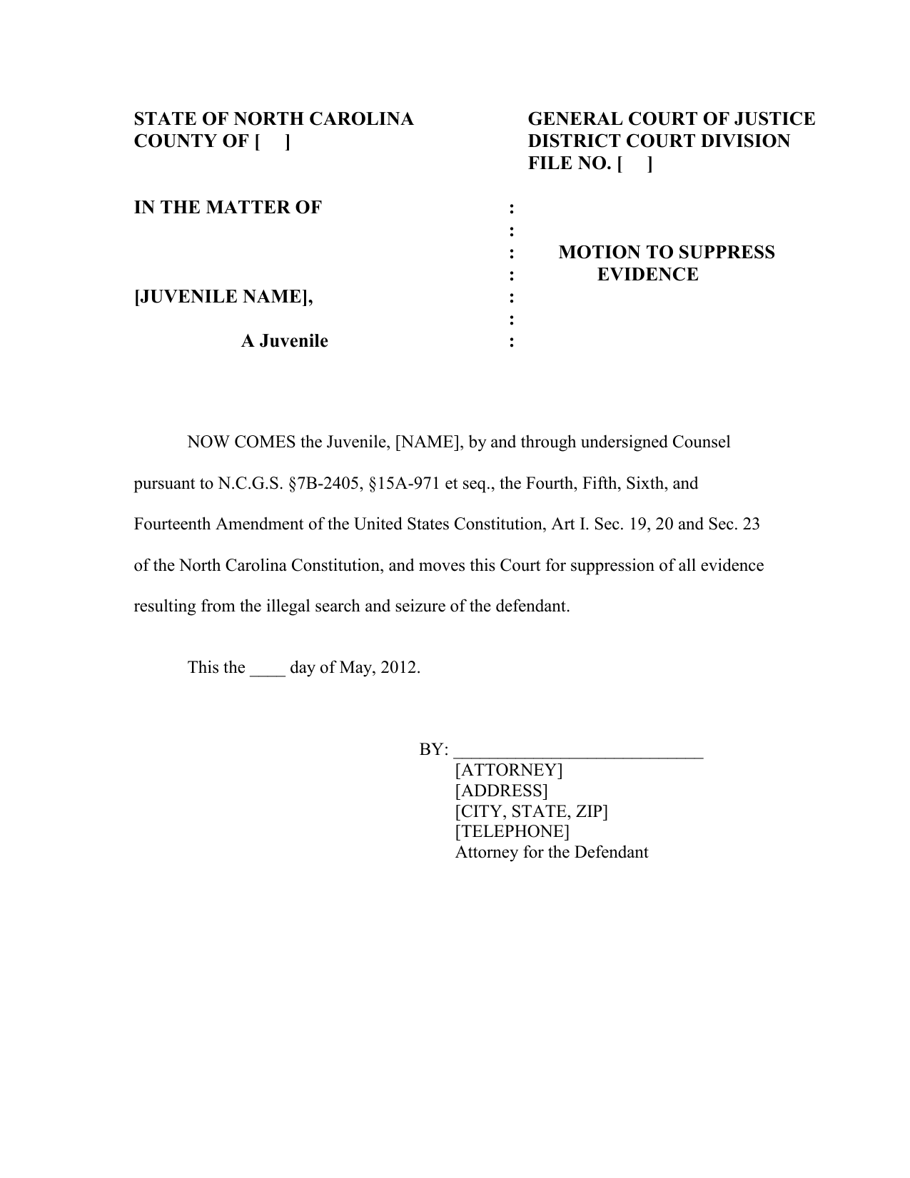 Motion To Suppress Unlawful Search Intended For Nc Courts Defendant Search By Name