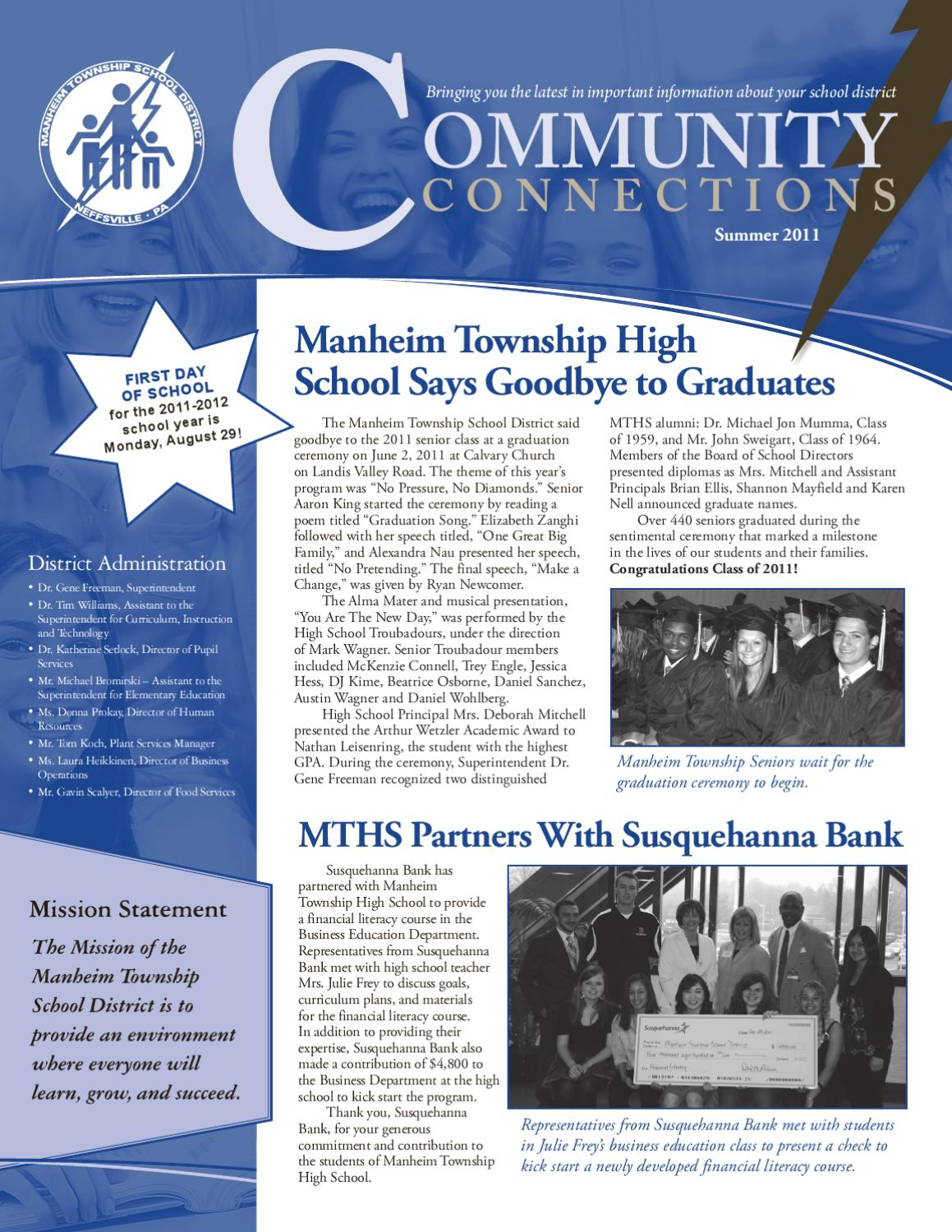 Mtsd Community Connections Newsletter Summer 2011Marcie With Manheim Township School Calendar