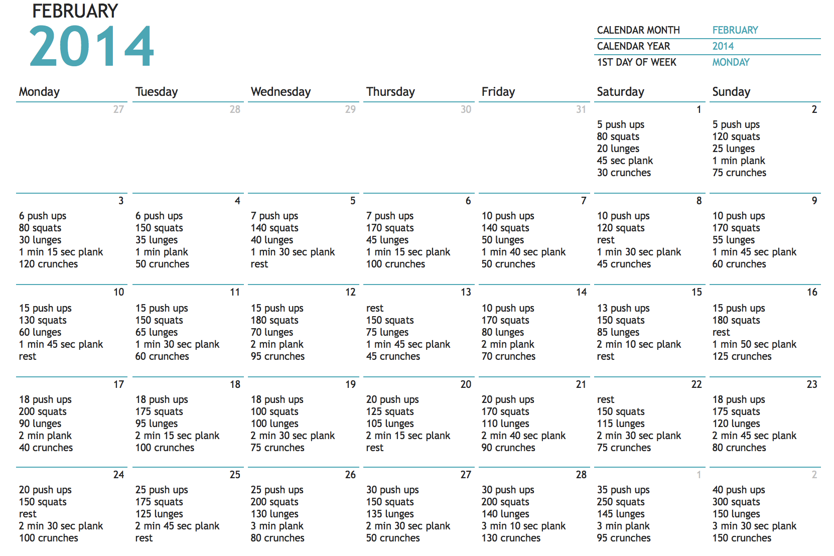 My February Full Body 30 Day Challenge - Starts Today! (With In 60 Calander Days From Today