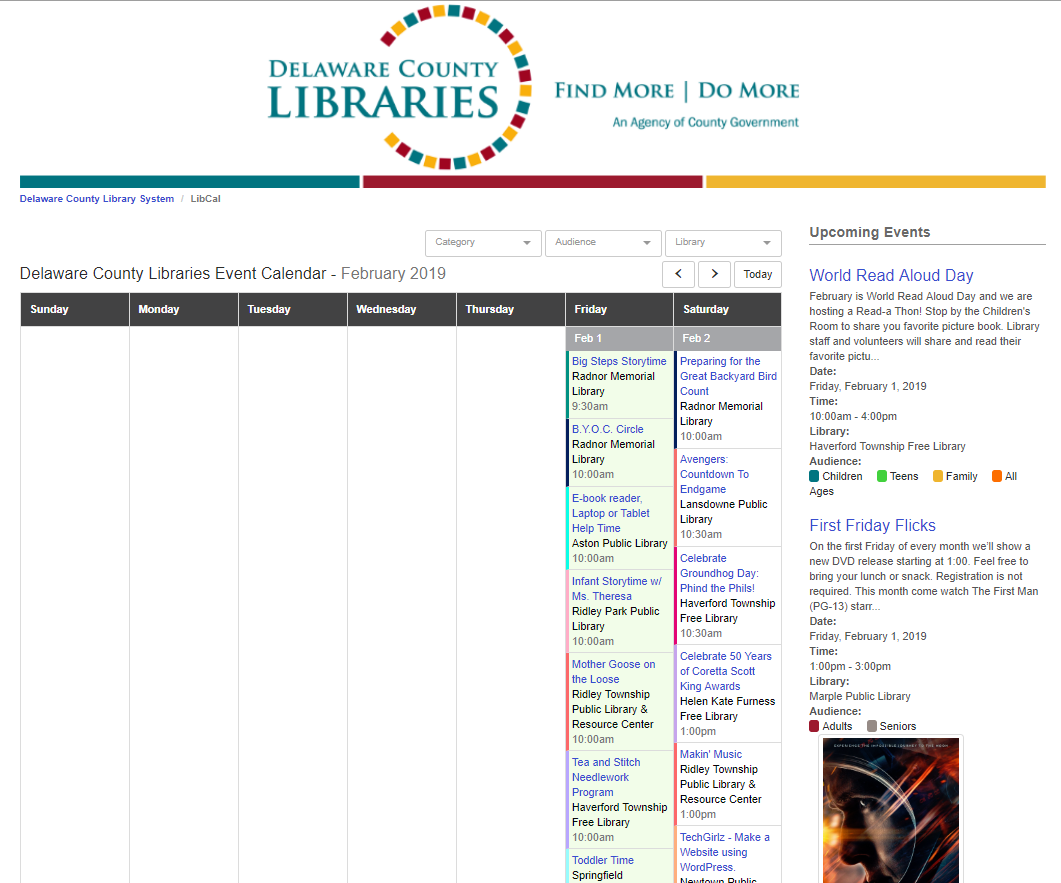 New Event Calendar | Delaware County Library System Inside Delaware County Community College Calendar