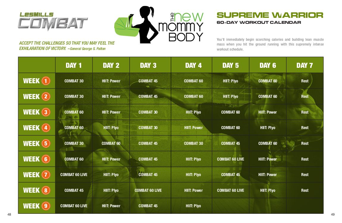 New Mommy Body Les Mills Combat Supreme Warrior 60 Day Regarding Body Combat Workout Schedule