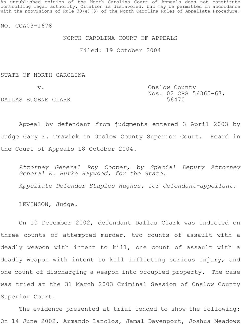North Carolina Court Of Appeals. Filed: 19 October V. Onslow Within Onslow County Distric Courts Schedule