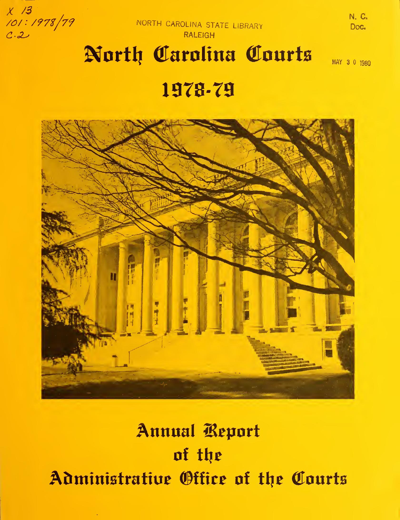 North Carolina Courts: Annual Report Of The Administrative With Regard To Onslow County Court Calendars