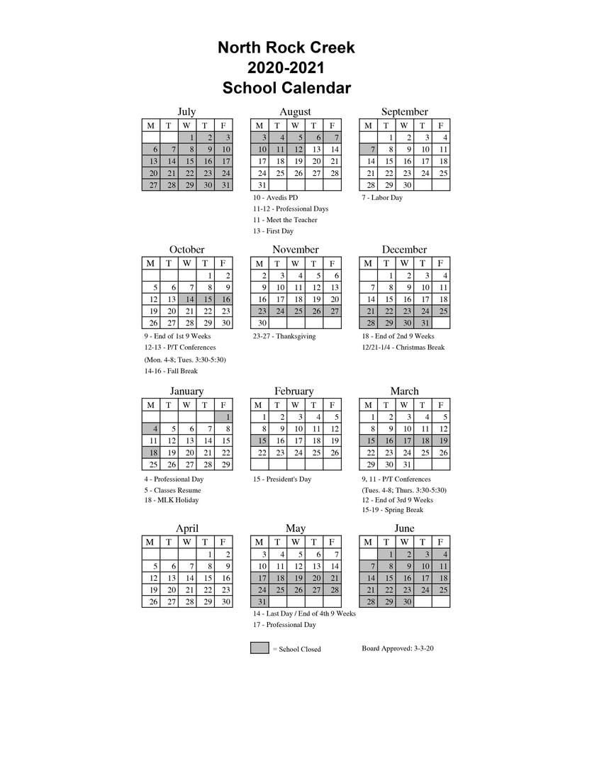 North Rock Creek Public Schools - 2020 2021 School Calendar Pertaining To Santa Teresa High School Calendar 2021