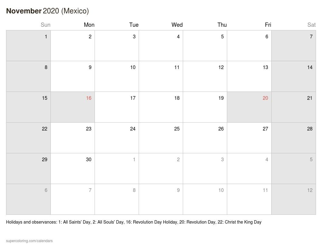 November 2020 Calendar – Mexico In Mexican Calendar With Saints