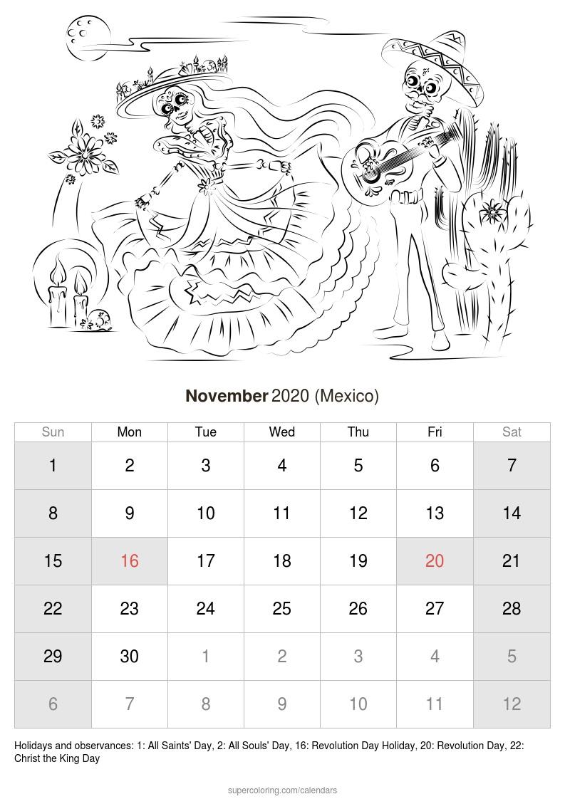 November 2020 Calendar - Mexico With Regard To Mexican Calendar With Saints