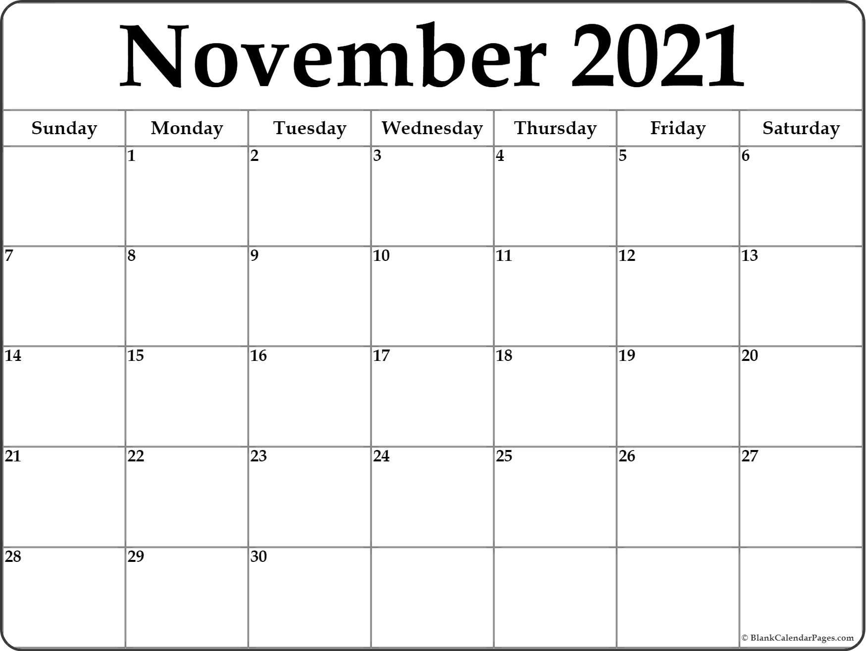 November 2021 Calendar | Free Printable Monthly Calendars For Calendar With November 2021 Mexican Names