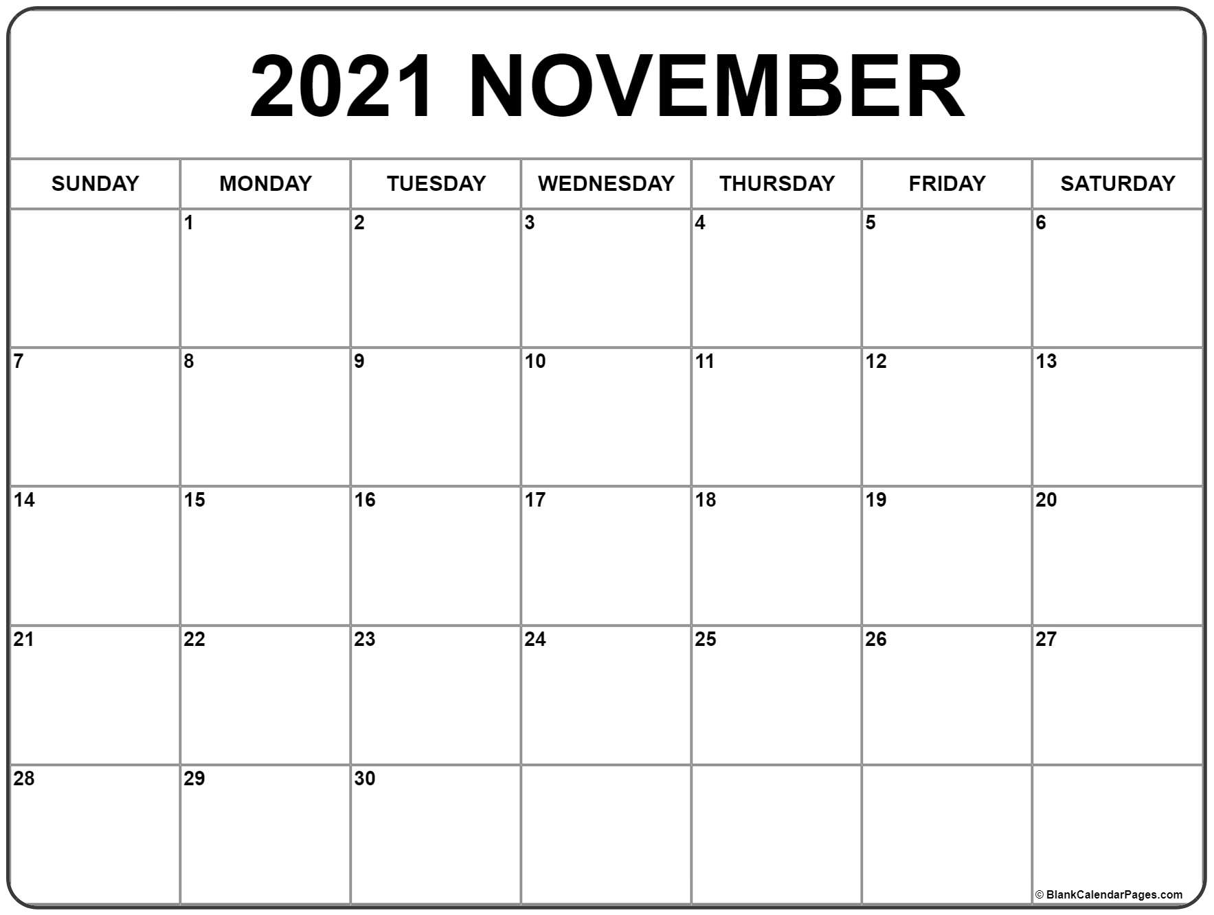 November 2021 Calendar | Free Printable Monthly Calendars in Calendar With November 2021 Mexican Names