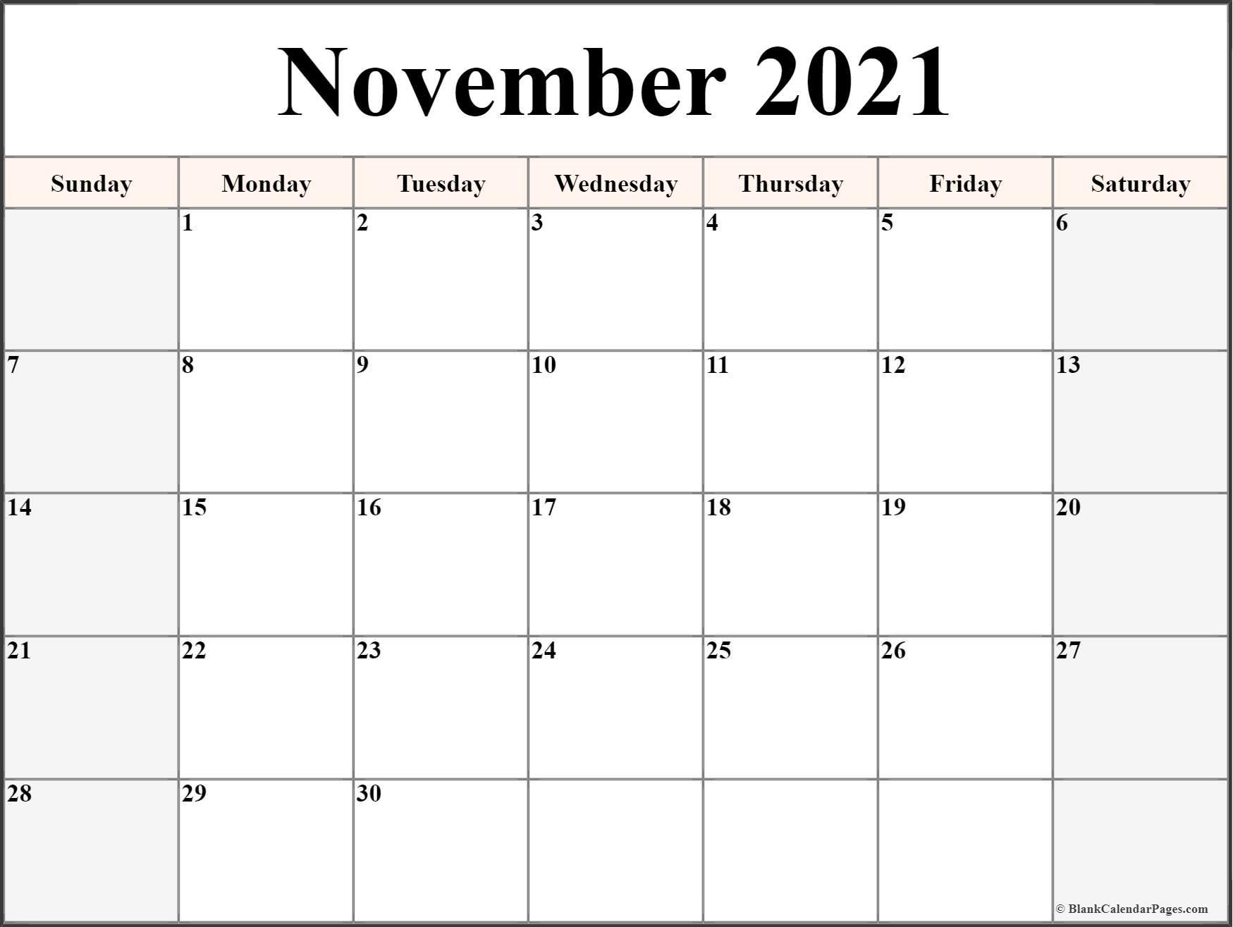 November 2021 Calendar | Free Printable Monthly Calendars Inside Calendar With November 2021 Mexican Names
