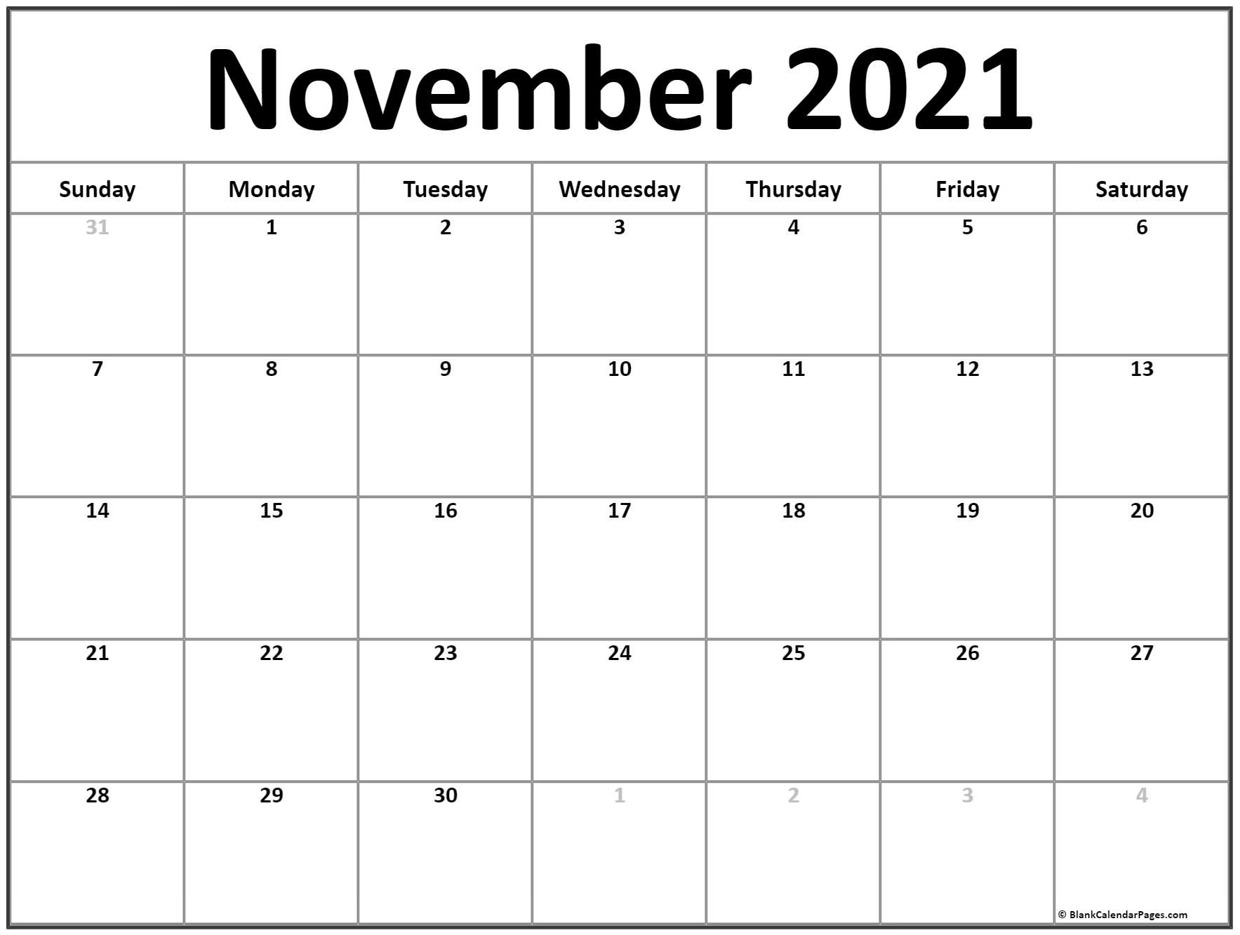 November 2021 Calendar | Free Printable Monthly Calendars Intended For Calendar With November 2021 Mexican Names