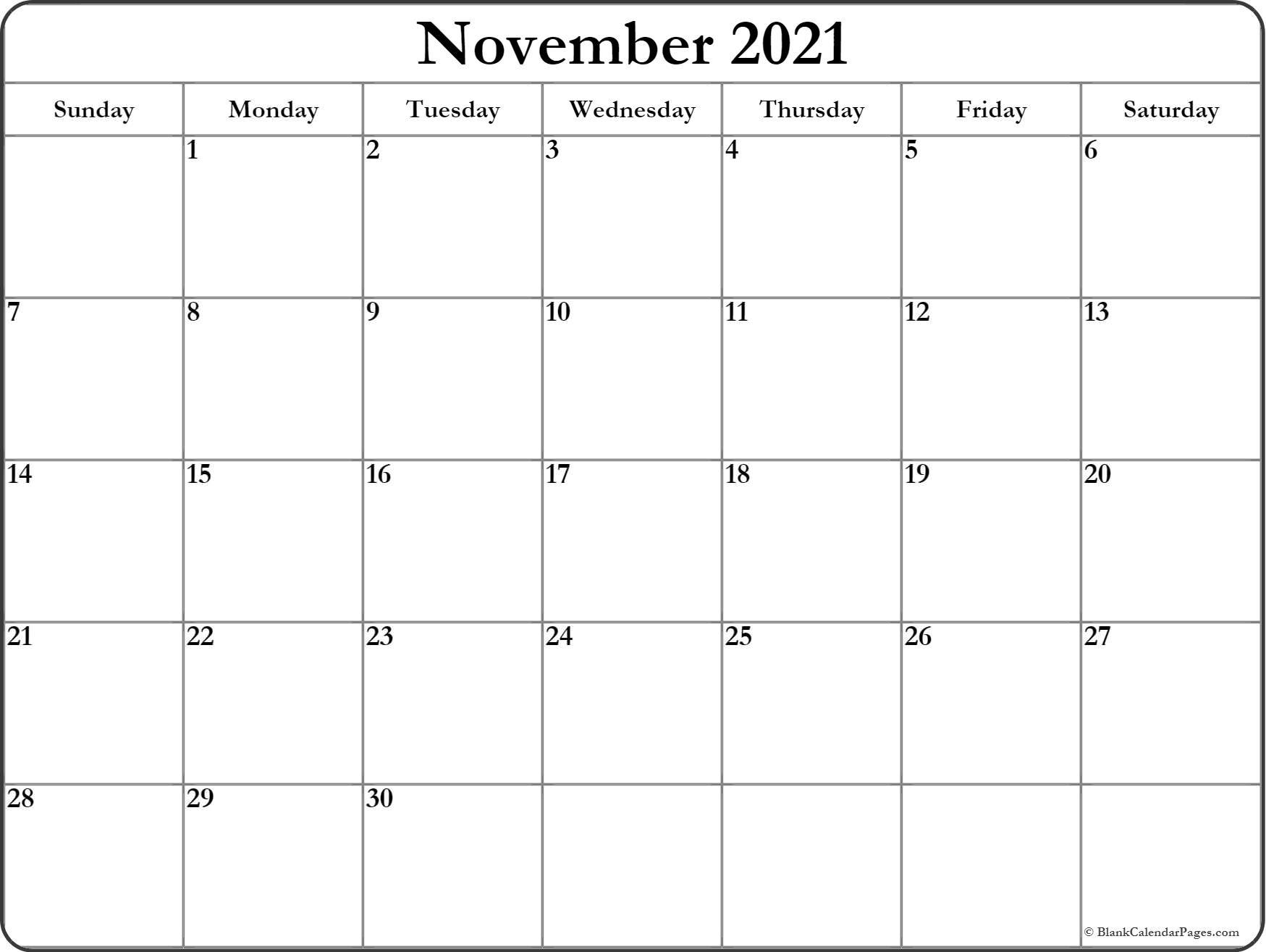 November 2021 Calendar | Free Printable Monthly Calendars With Regard To Calendar With November 2021 Mexican Names