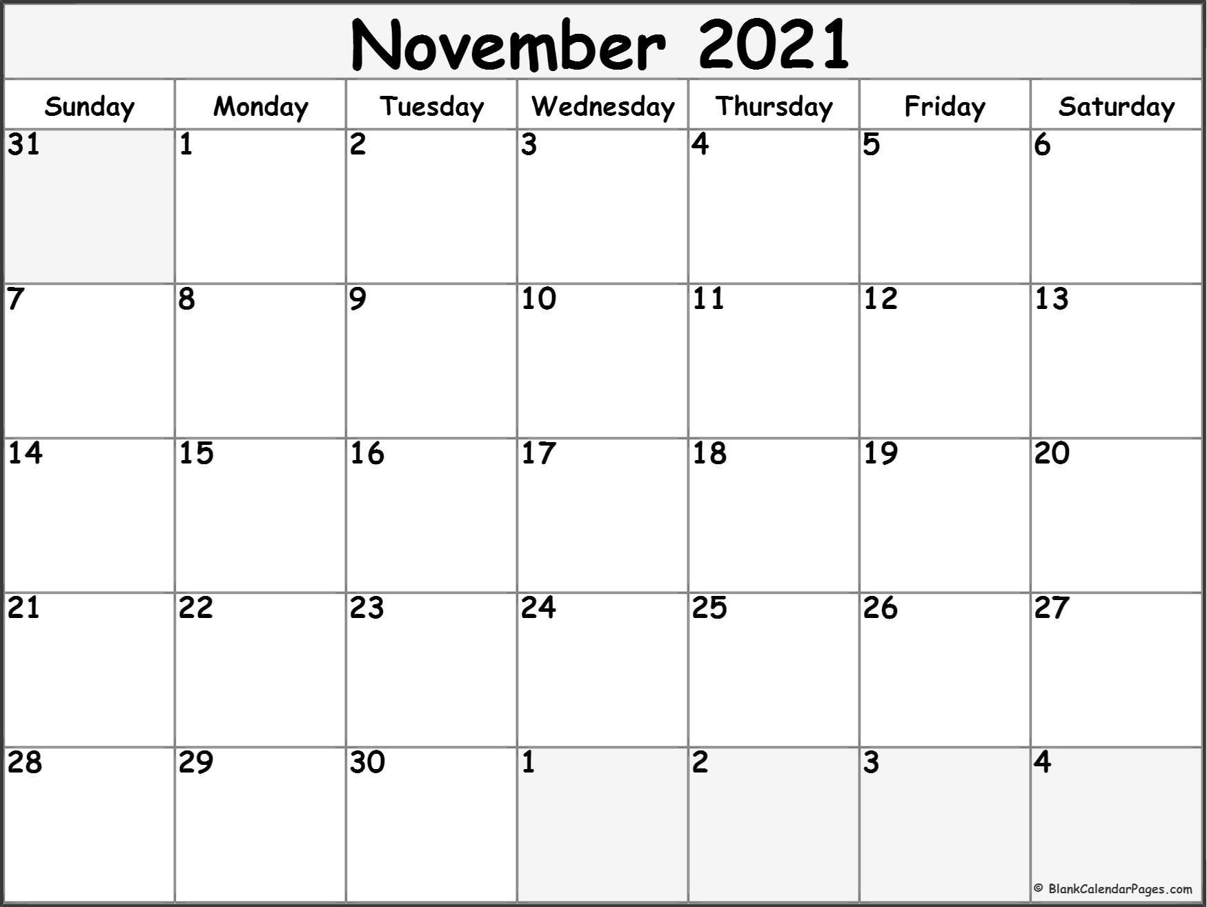 November 2021 Calendar | Free Printable Monthly Calendars Within Calendar With November 2021 Mexican Names