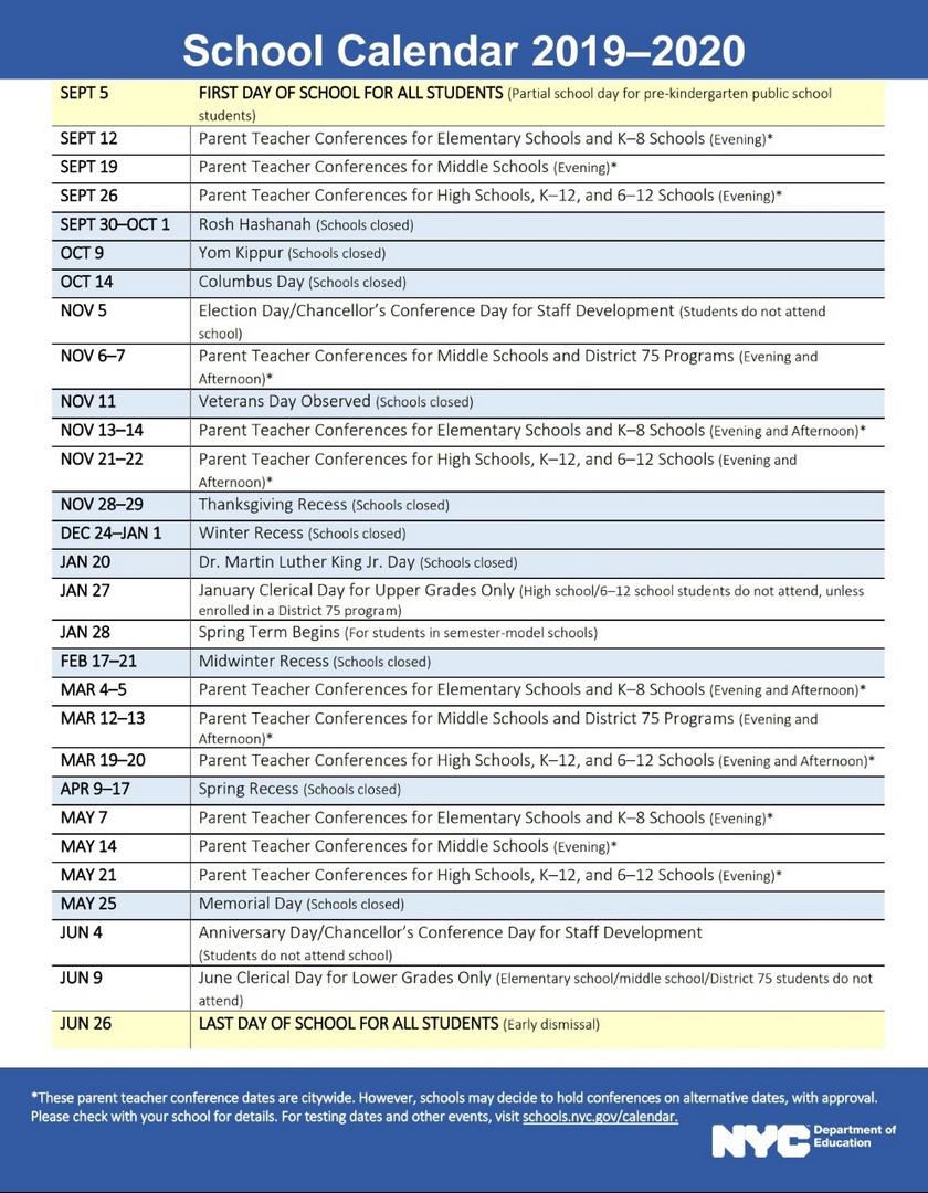 Nyc Doe 2019-2020 School Calendar | Ps 373R Robert Randall within Board Of Education Calendar Nyc