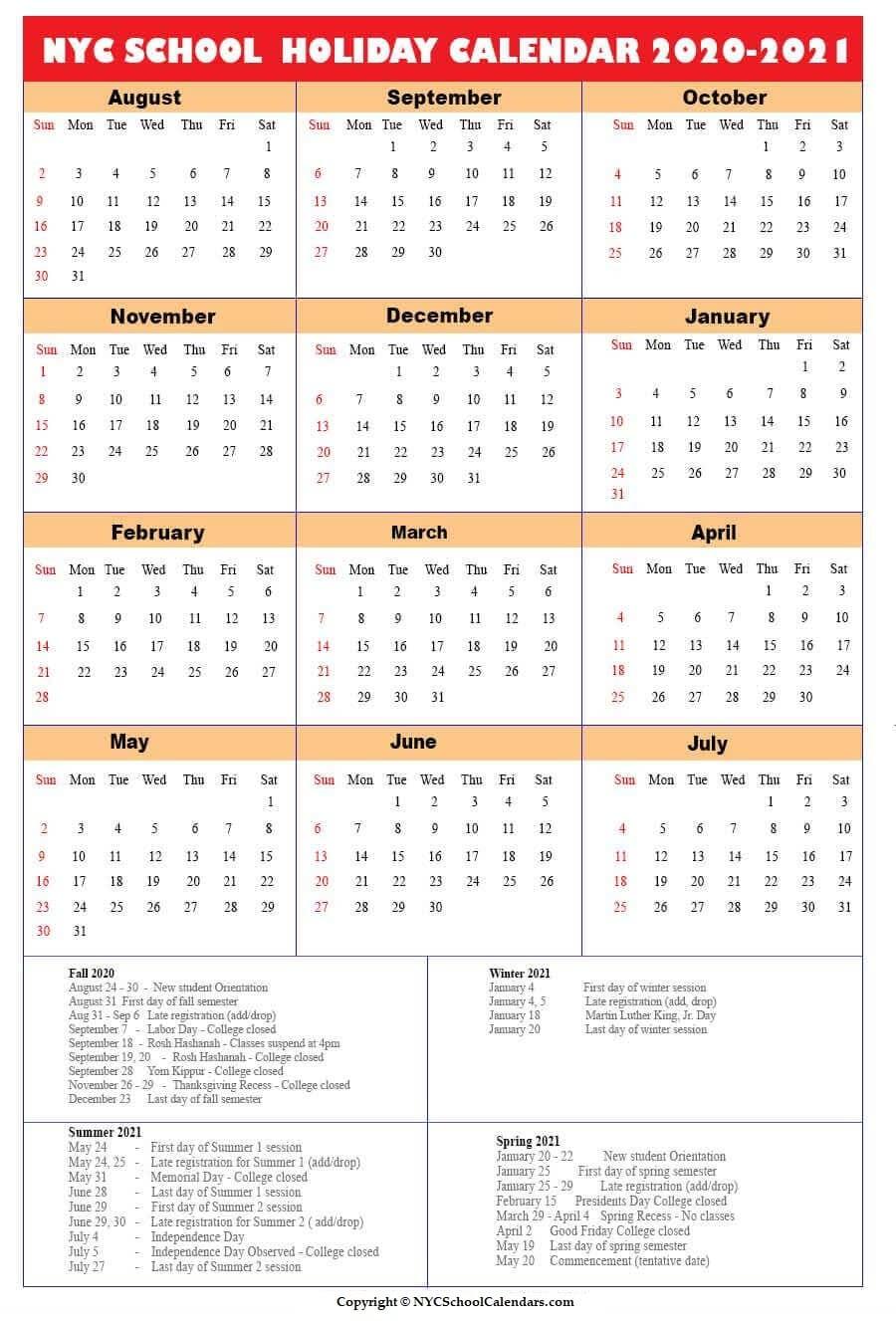 Nyc School Calendar 2020 ✅❤️ Intended For North Syracuse School Calendar 2021