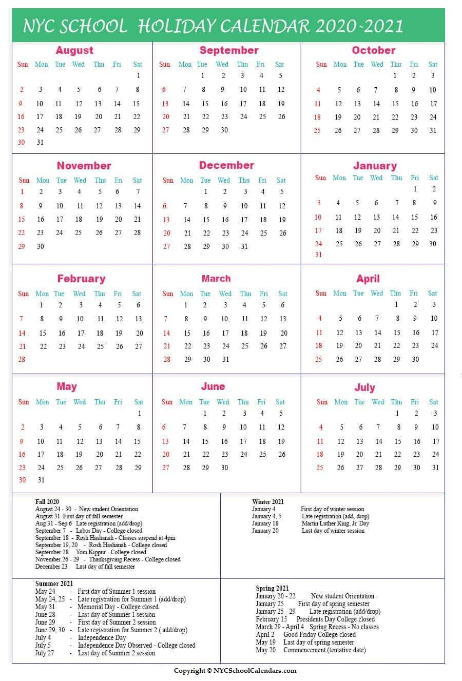 Nyc School Calendar 2020 ✅❤️ Throughout Williamsville Ny School Calendar