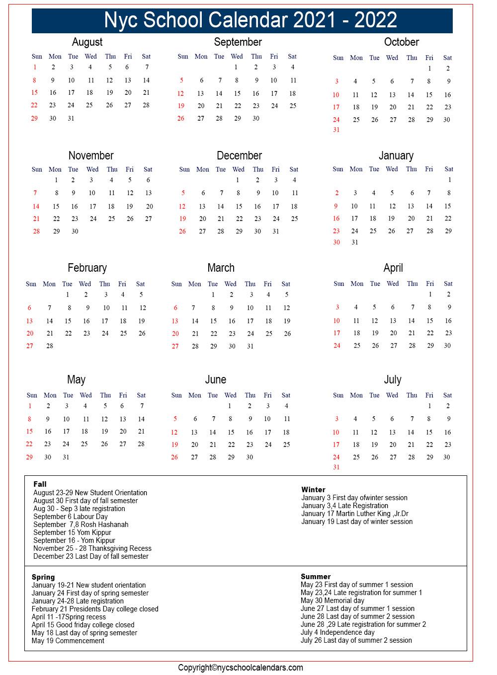 Nyc School Calendar 2021 ✅❤️ Intended For Bedford Central School Calendar