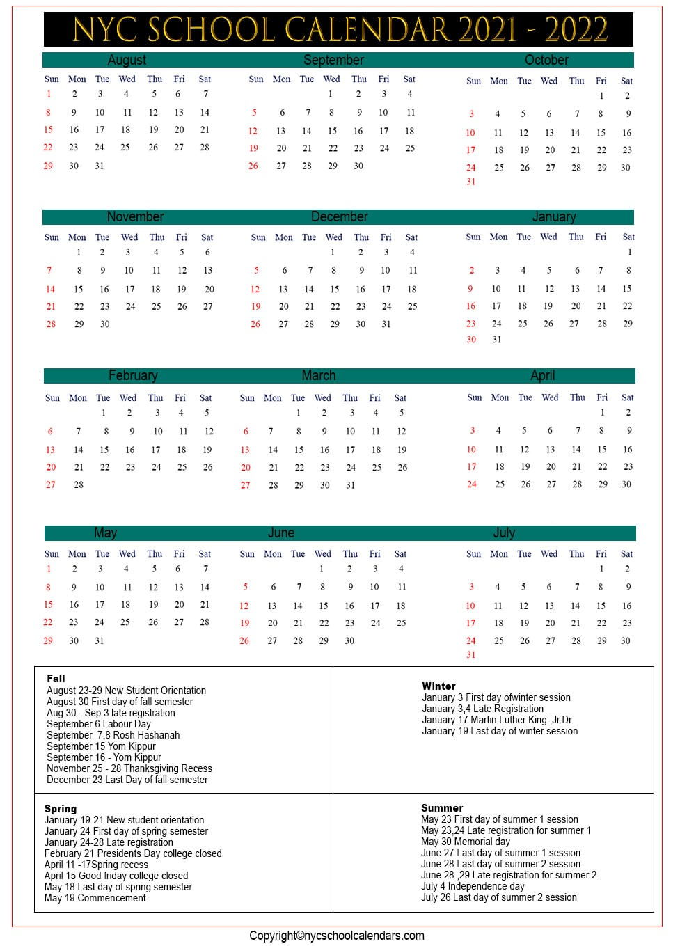 Nyc School Calendar 2021 ✅❤️ Throughout Williamsville Ny School Calendar