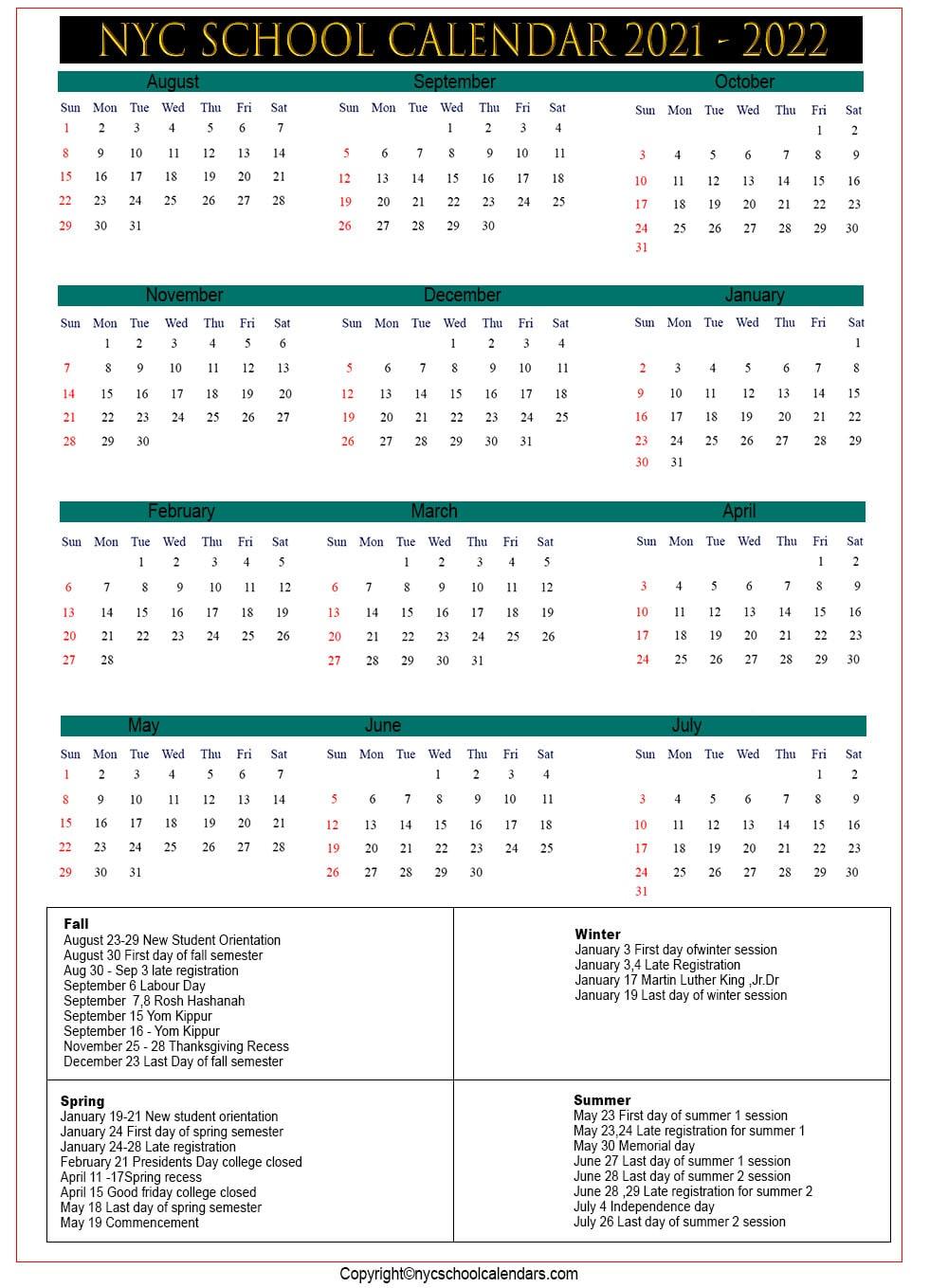 Nyc School Calendar 2021 ✅❤️ Within East Hartford School Calendar 2021 2021