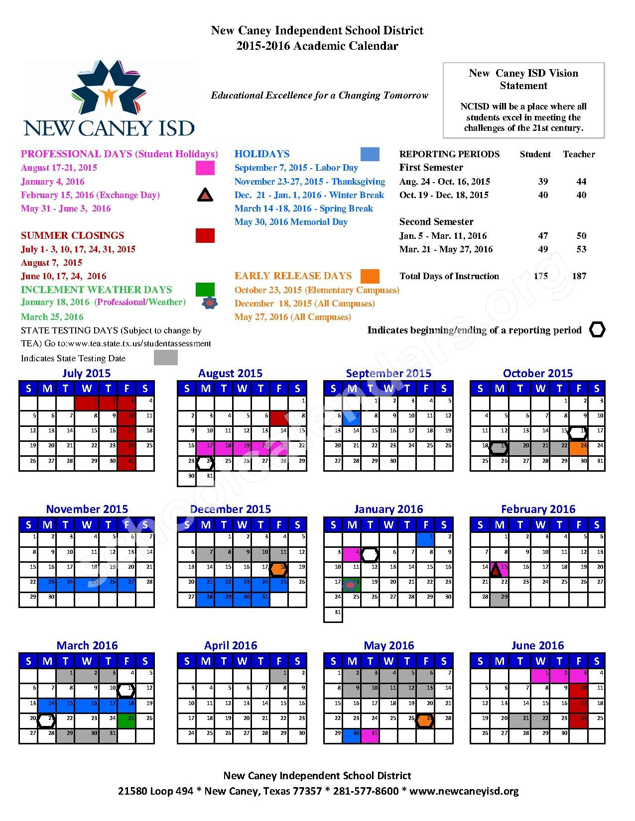 Oakley Elementary School Calendar « Heritage Malta For New Caney School Calendar