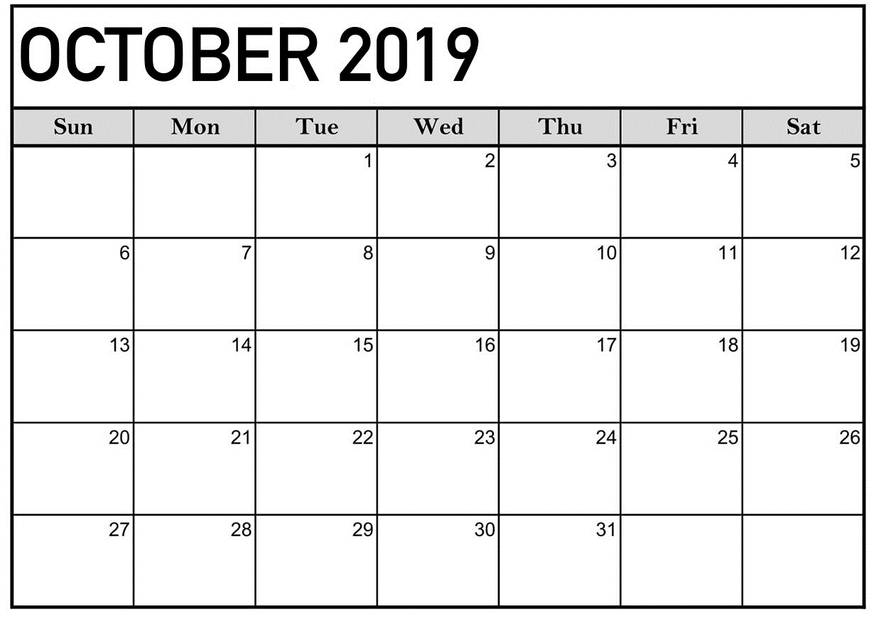 October 2019 Calendar Printable Word Template - Latest Throughout Where To Find Google Printable Amendable Calander