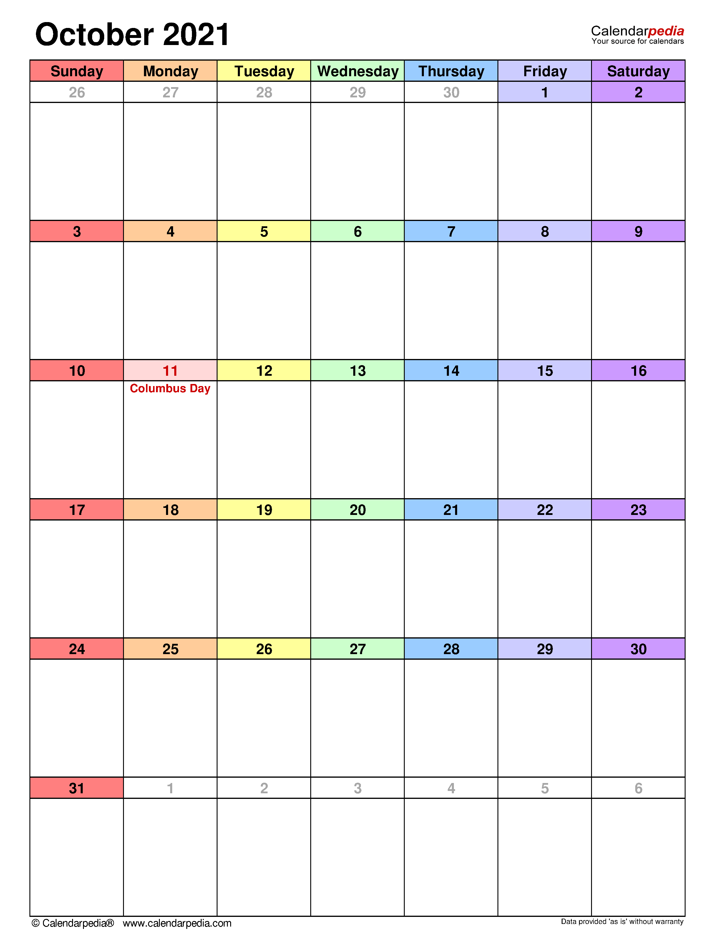 October 2021 – Calendar Templates For Word, Excel And Pdf For Columbus State Calendar 2021 20