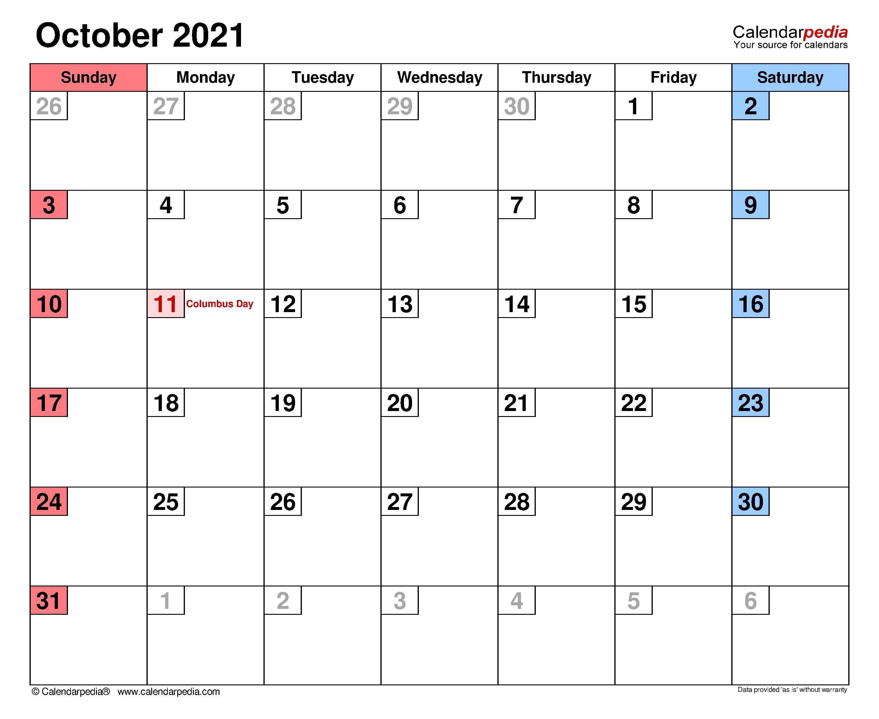 October 2021 – Calendar Templates For Word, Excel And Pdf Regarding Columbus State Calendar 2021 20