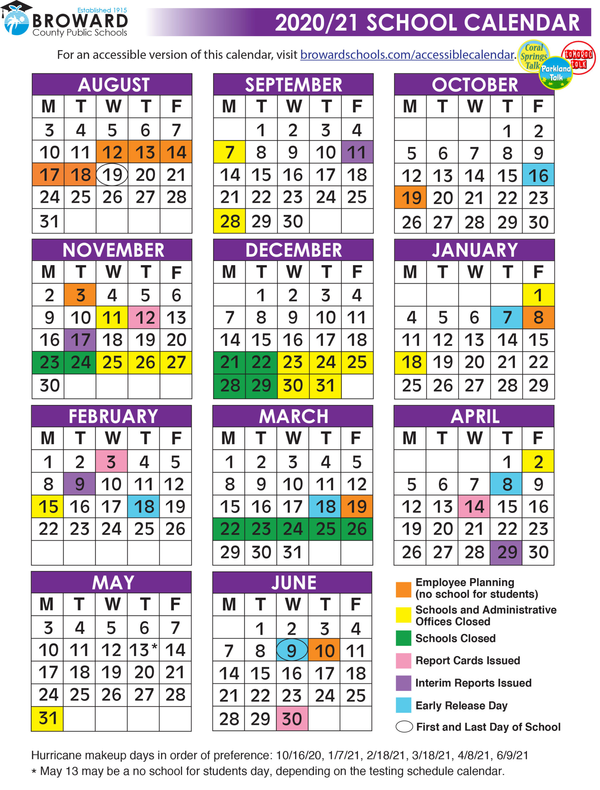 Official 2020/21 Broward County Public Schools Color Inside The School District Of Palm Beach County School Calendar 2020 2021