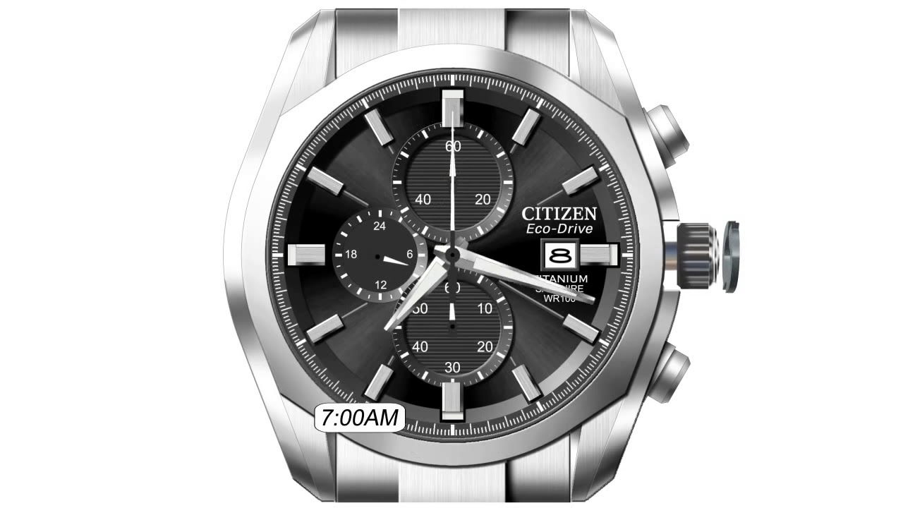 Official Citizen Setting Instructions (Setting The Time On A Simple Analog) In Citizen Eco Drive Chronograph Wr100 Manual