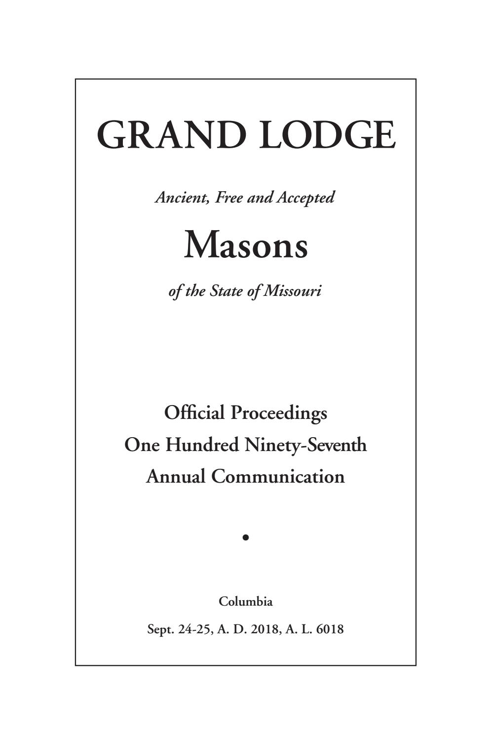 Official Proceedings - Grand Lodge Mo Annual Communication Intended For Billings School District 2 2021 20 Calendar