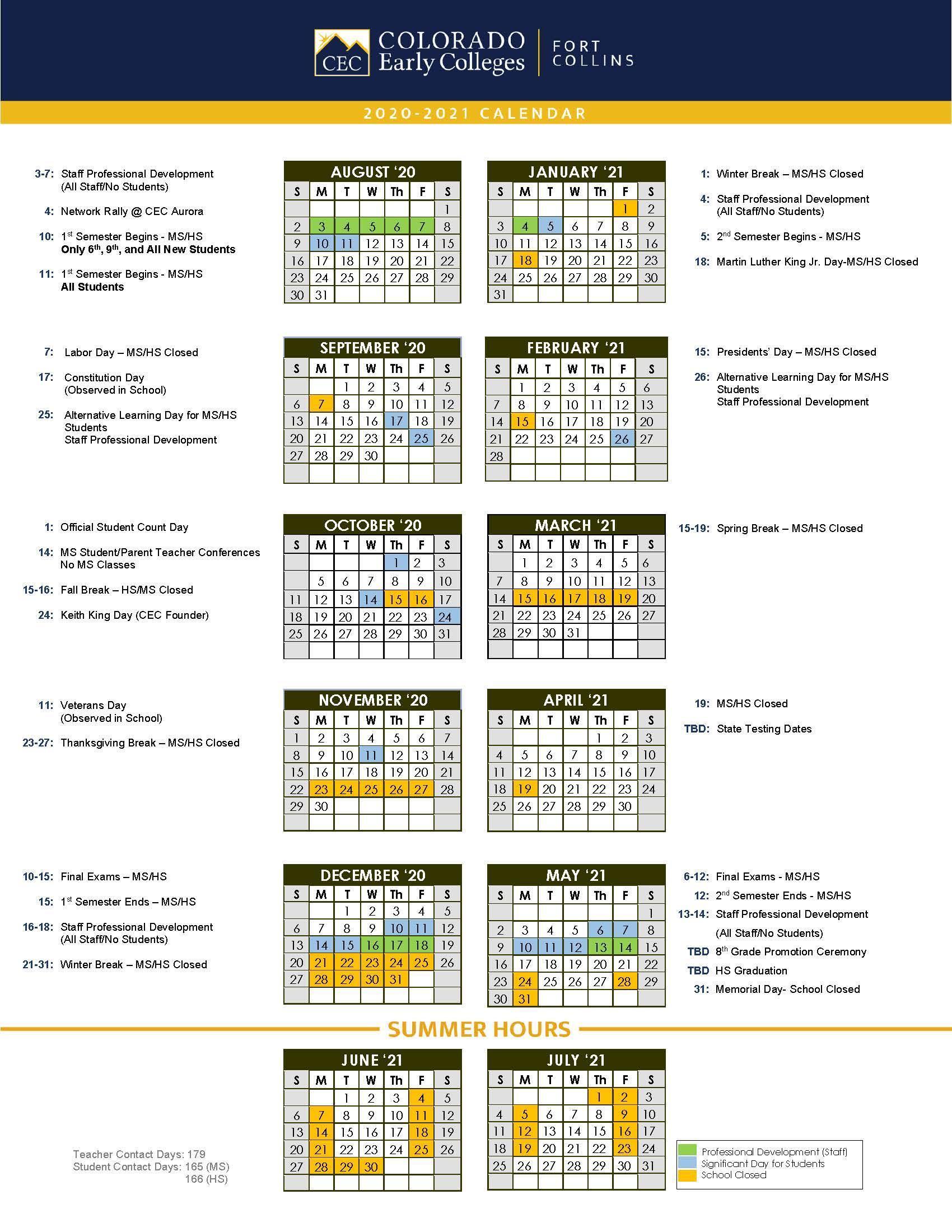 Official School Calendars – Miscellaneous – Cec Fort Collins Pertaining To West Orange School District Printale Academic Schoool Schedule