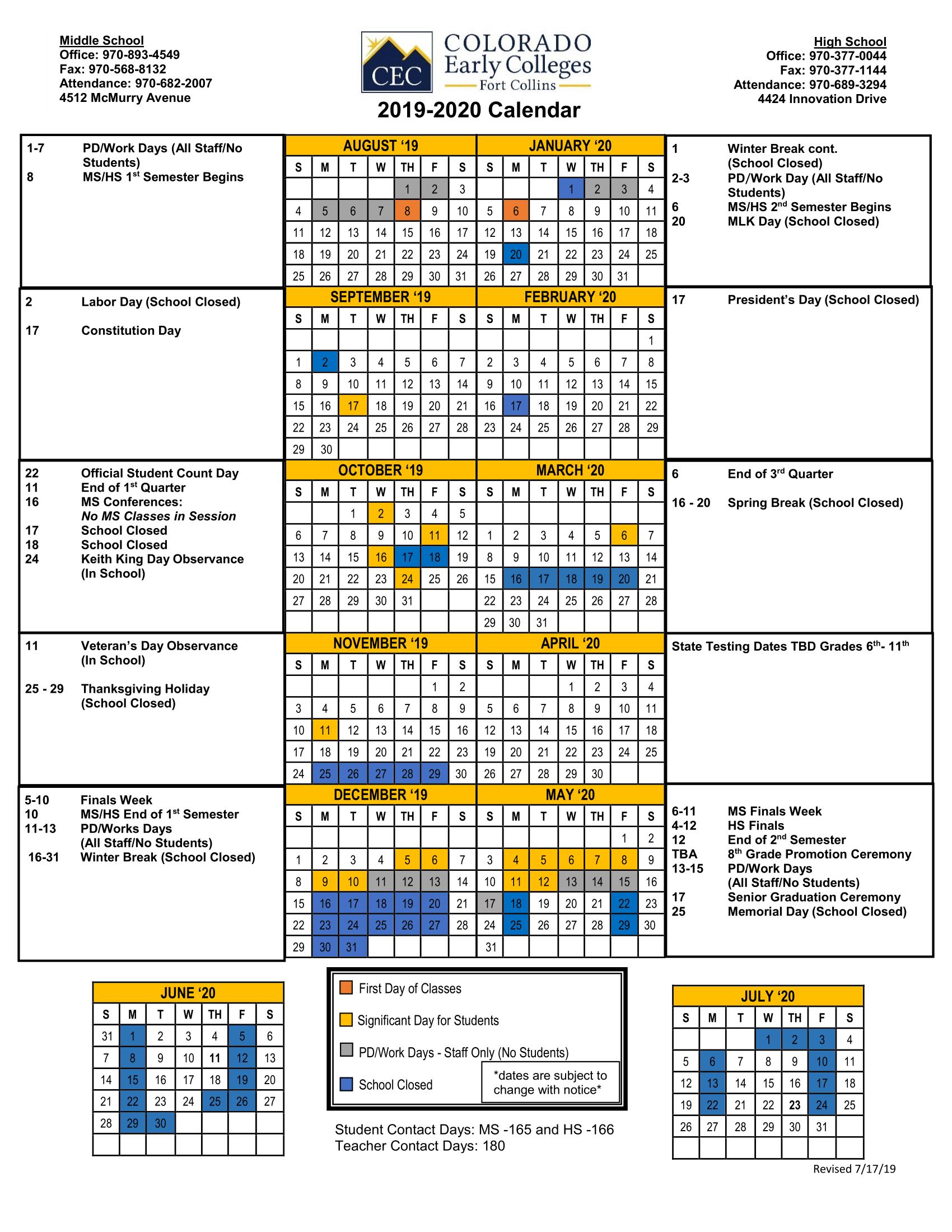 Official School Calendars - Miscellaneous - Cec Fort Collins With West Orange School District Printale Academic Schoool Schedule