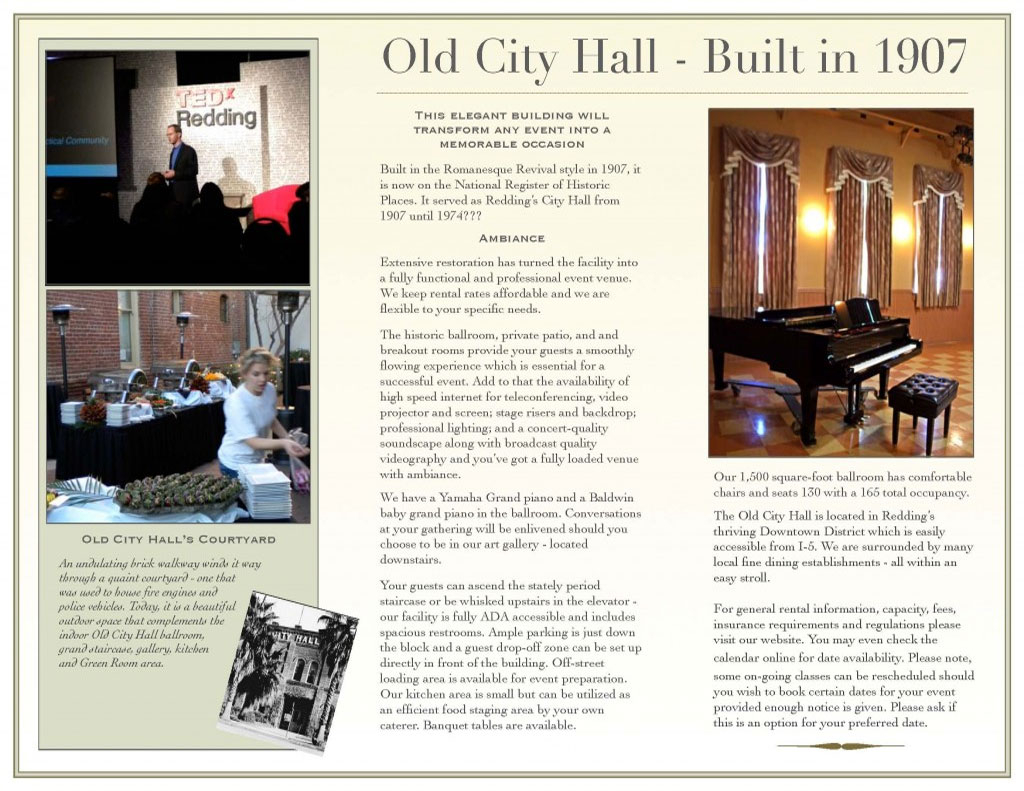 Old City Hall | Facility Rental | Shasta County Arts Council Inside Shasta County Superior Court Calander