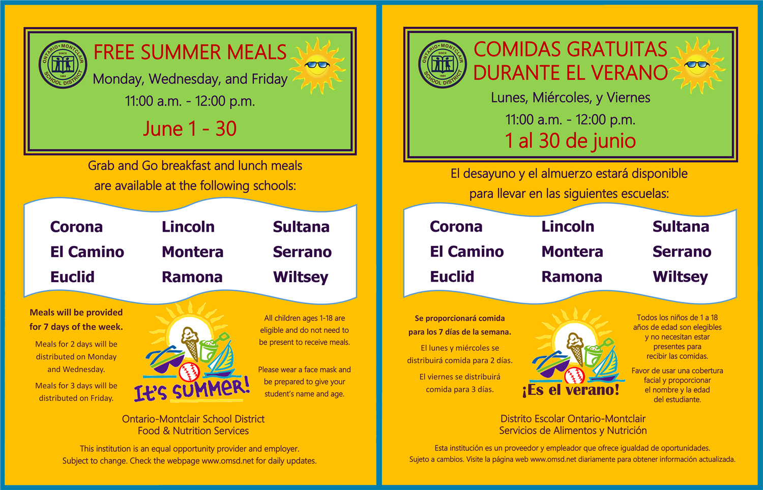 Omsd Free Breakfast & Lunch Program For Children Ages 1 18 Regarding Ontario Montclair School District Calendar