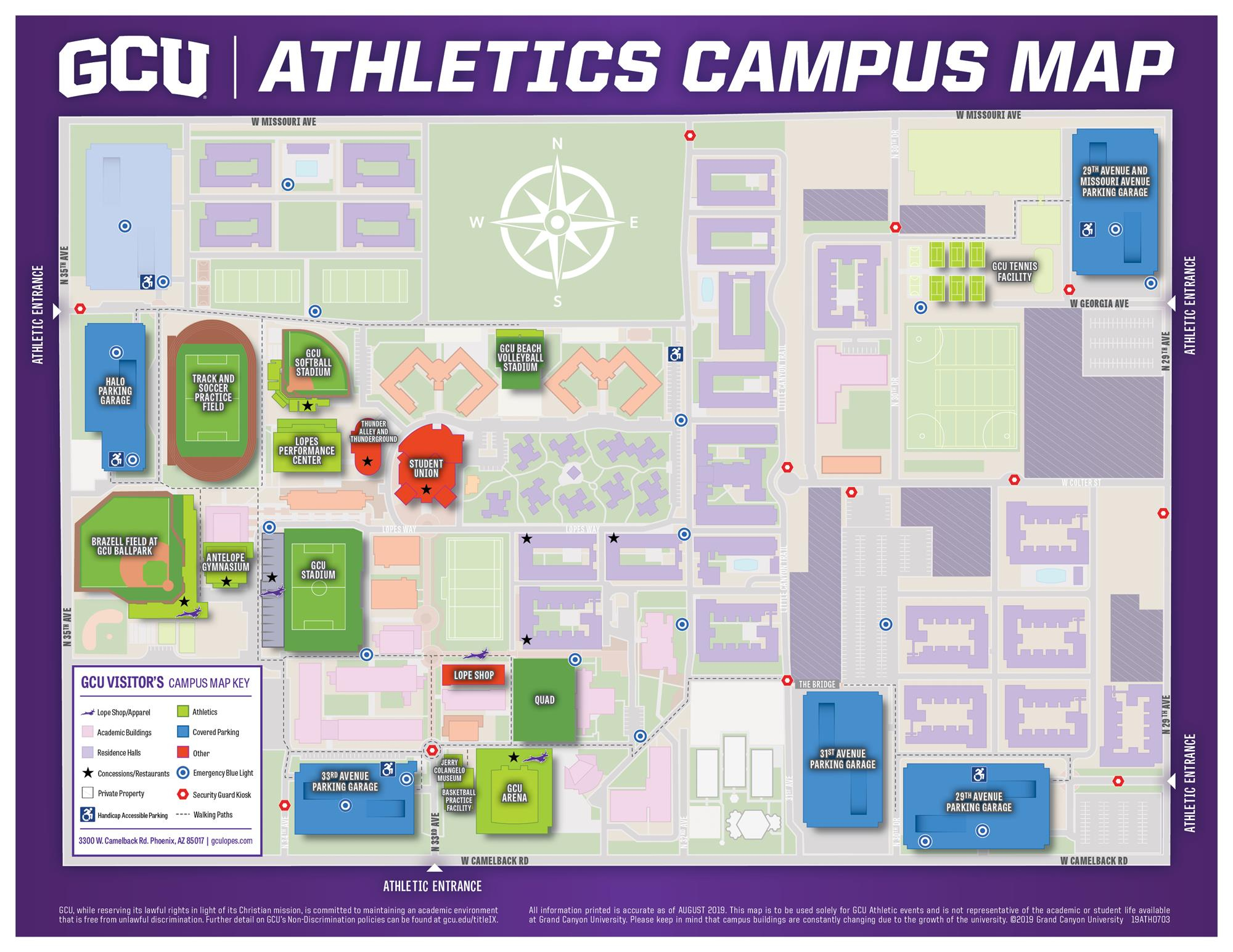 Other Sports Parking Map - Grand Canyon University Athletics Inside Canyon University Vacation Calender