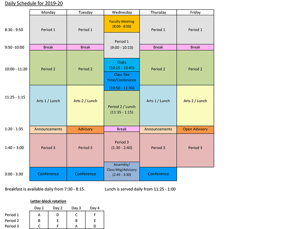 Our Daily Schedule - Solebury School For Stroudsburg Public School Calendar