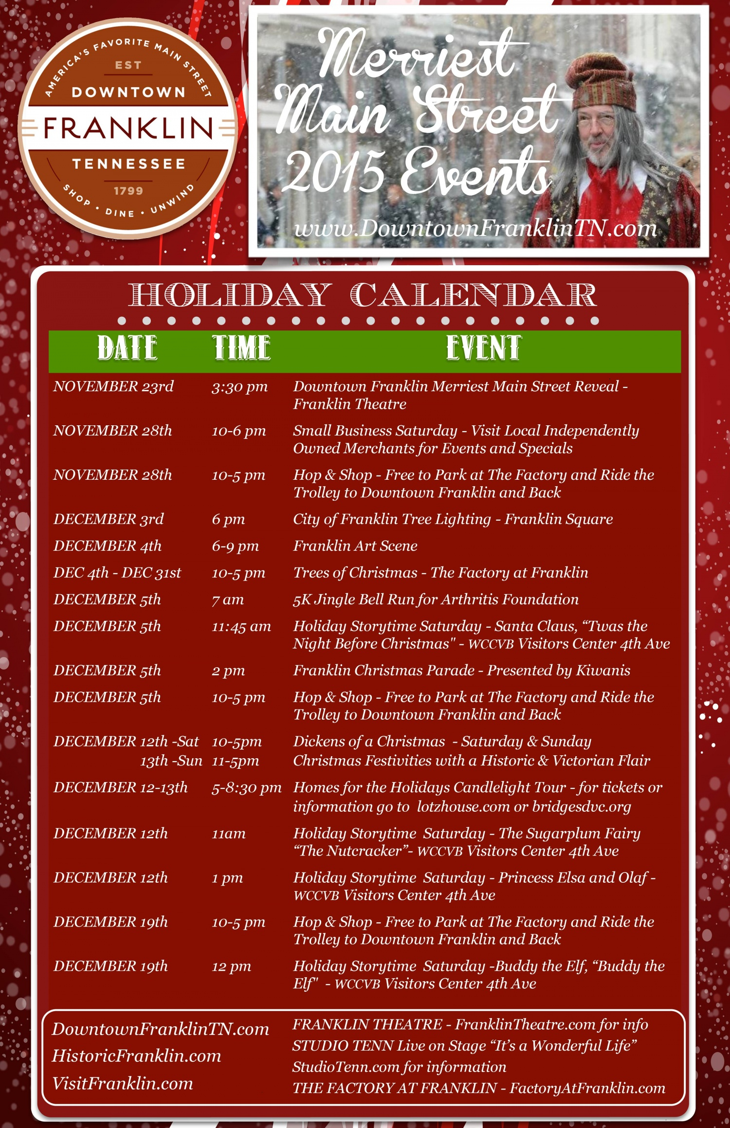 Our Holiday Season [2015] | Downtown Franklin, Tennessee With Franklin Tn Calendar Of Events