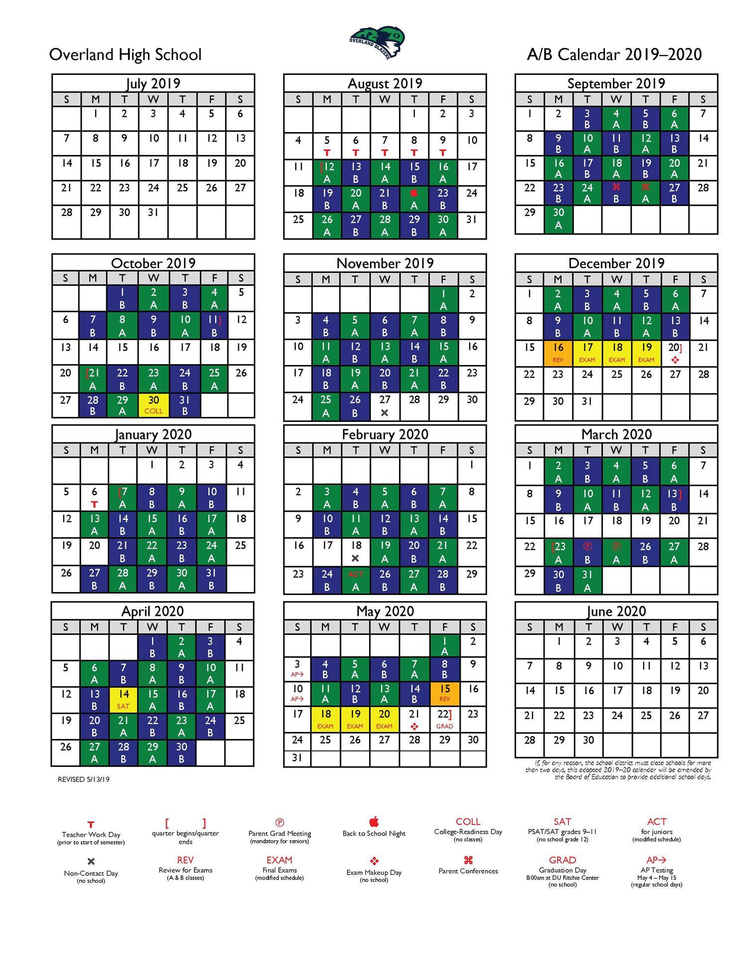 Overland High School / Calendar With Regard To West Hills High School Calendar